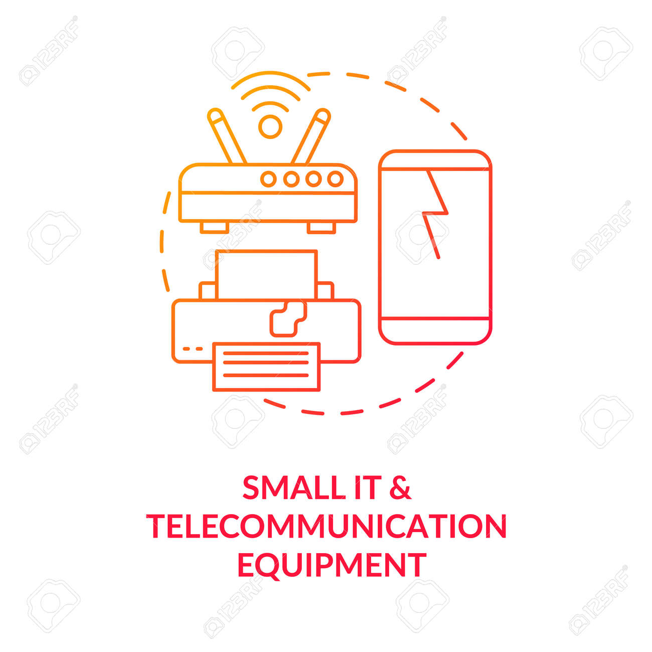 Small IT and telecommunication equipment concept icon. E-waste category idea thin line illustration. Hazardous materials risk. IT appliance reuse, recycling. Vector isolated outline RGB color drawing - 167538750