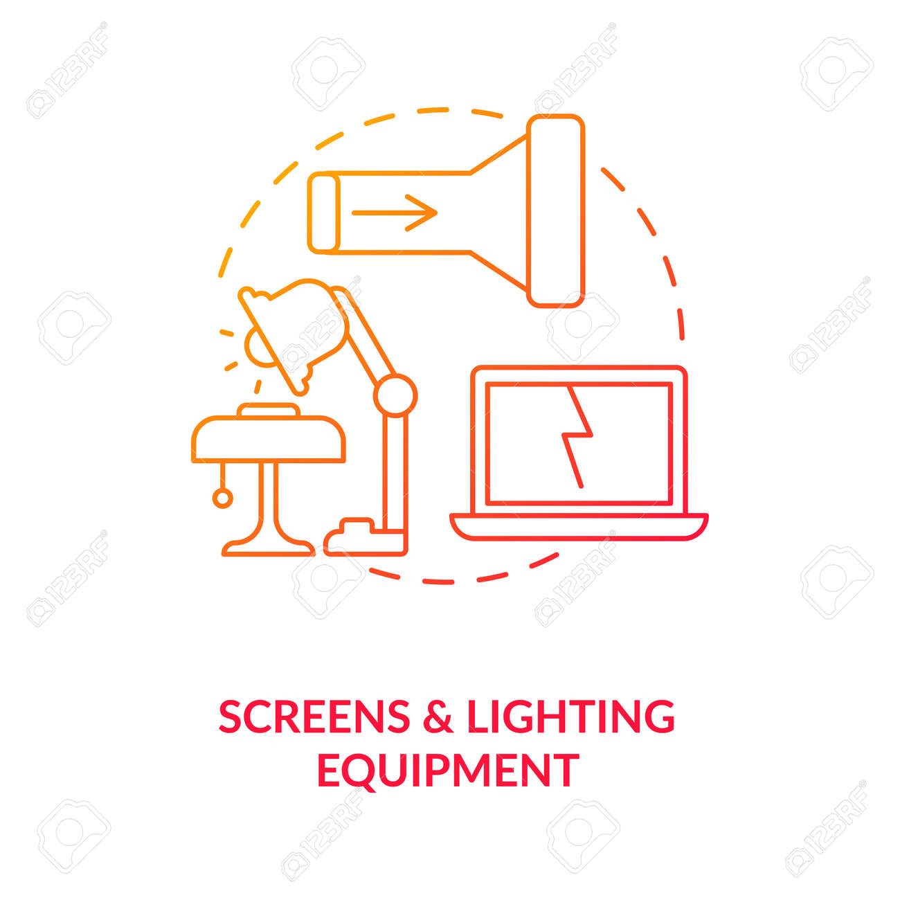 Screens and lighting equipment concept icon. E-waste category idea thin line illustration. Televisions, monitors. Laptops, notebooks. Throwing electronics. Vector isolated outline RGB color drawing - 167538746