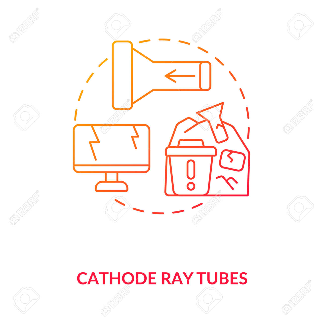 Cathode ray tubes concept icon. E-waste component idea thin line illustration. CRT glass recycling. Hazardous waste. Electrical and electronic equipment. Vector isolated outline RGB color drawing - 167538913
