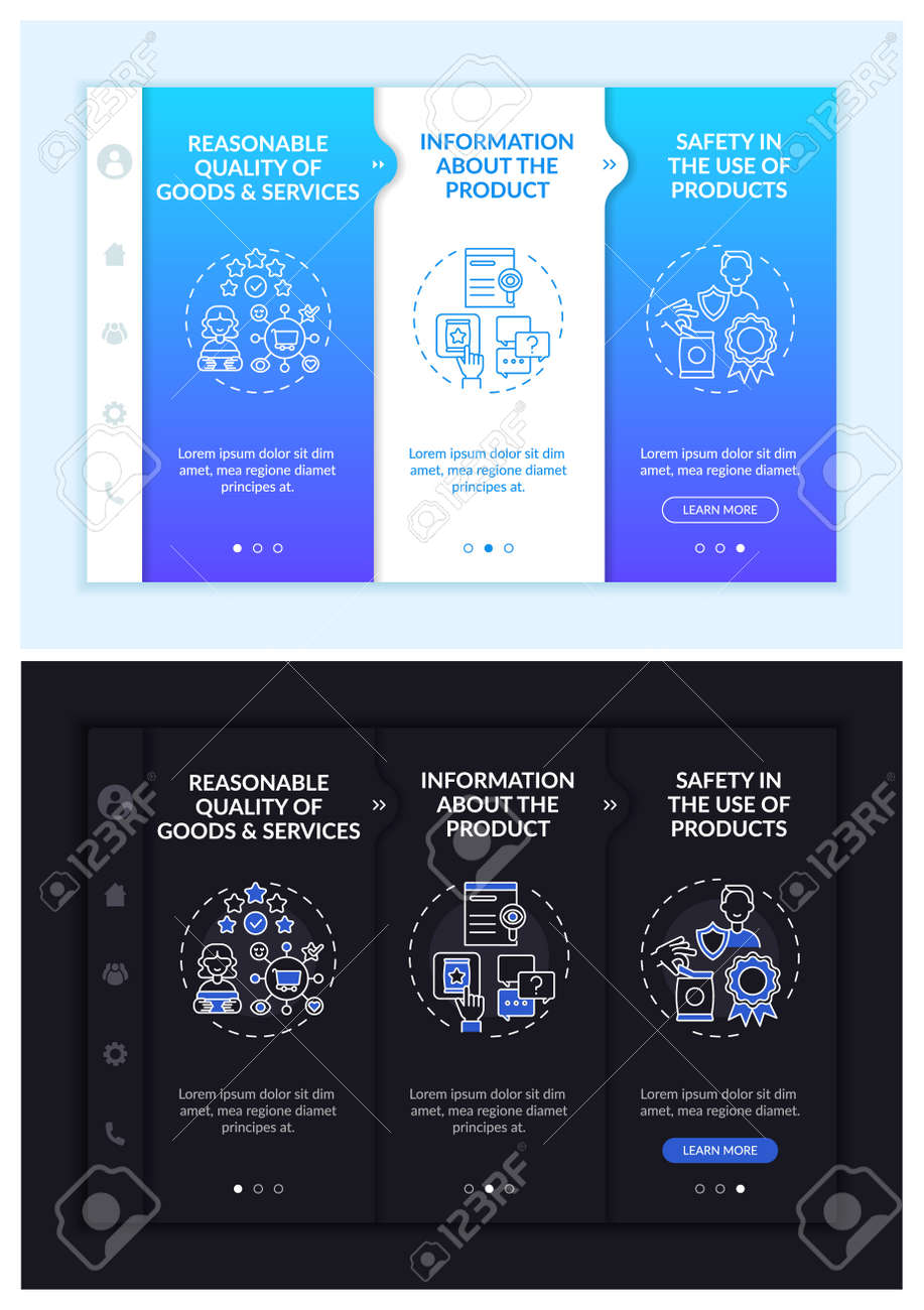Key buyer rights onboarding vector template. Responsive mobile website with icons. Web page walkthrough 3 step screens. Right for safety, choice night and day mode concept with linear illustrations - 167762172