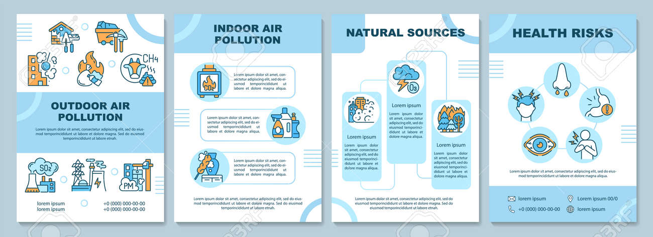 Air pollution brochure template. Outdoor air pollution. Flyer, booklet, leaflet print, cover design with linear icons. Vector layouts for presentation, annual reports, advertisement pages - 168568278