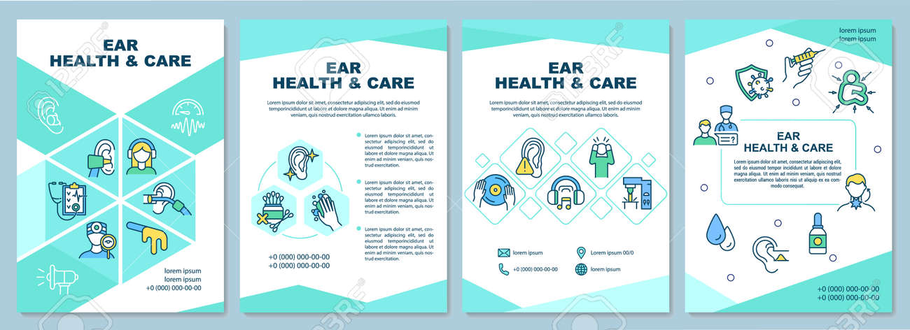 Ear health and care brochure template. Gently cleaning ears. Flyer, booklet, leaflet print, cover design with linear icons. Vector layouts for presentation, annual reports, advertisement pages - 168636276