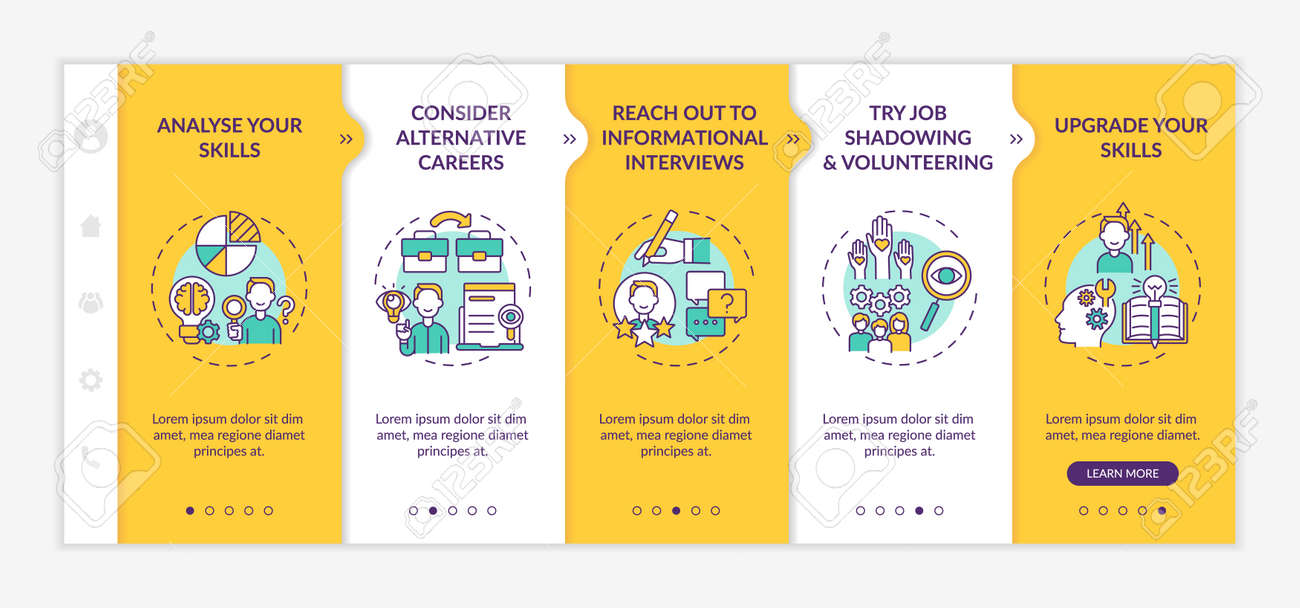 Career change steps onboarding mobile app page screen with concepts. Improve yourself walkthrough 5 steps graphic instructions. UI, UX, GUI vector template with linear day mode illustrations - 168765425