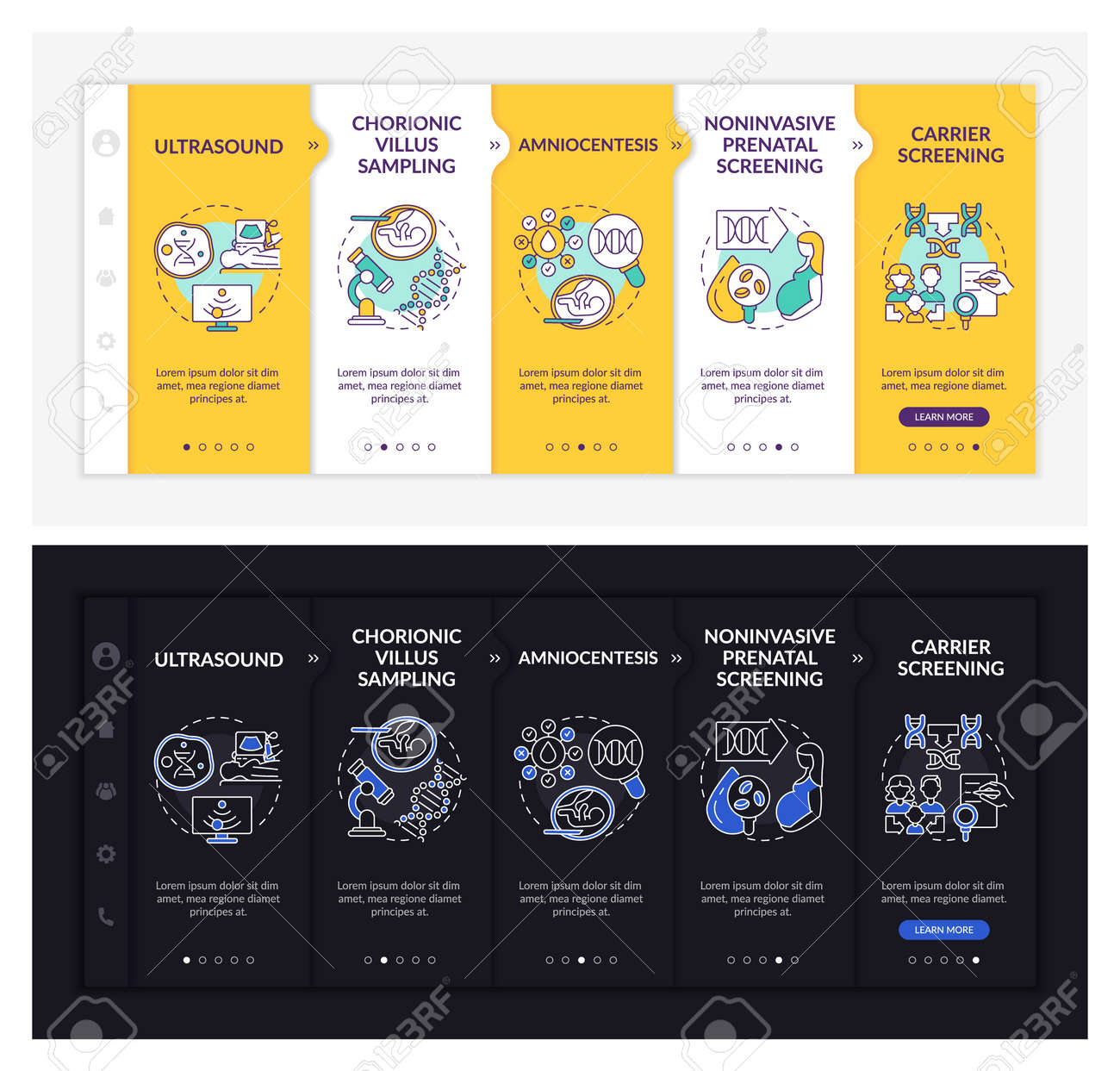 Genetic diseases diagnostics onboarding vector template. Responsive mobile website with icons. Web page walkthrough 5 step screens. Illness dark, light mode concept with linear illustrations - 168827853