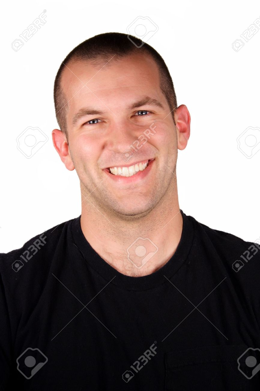A handsome man with a happy expression in front of a white background. Stock Photo - 5871507