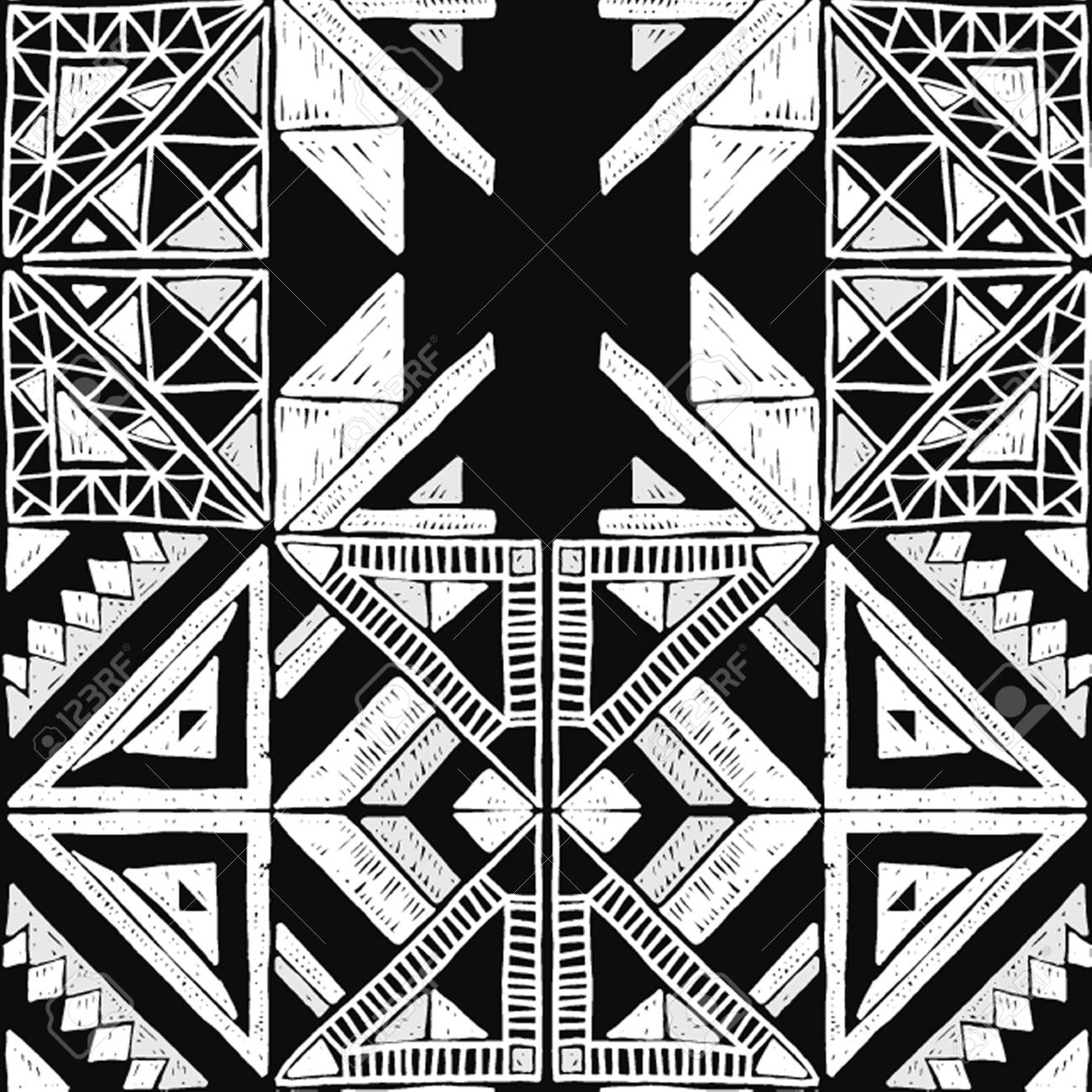 Seamless geometric african black and white pattern ethnic ornament on the carpet aztec style