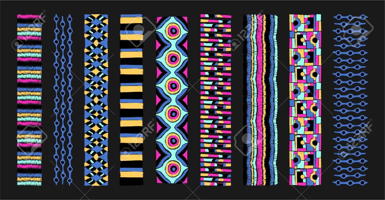 Patrones Geométricos Sin Fisuras En Estilo Azteca. Textura De Vector ...