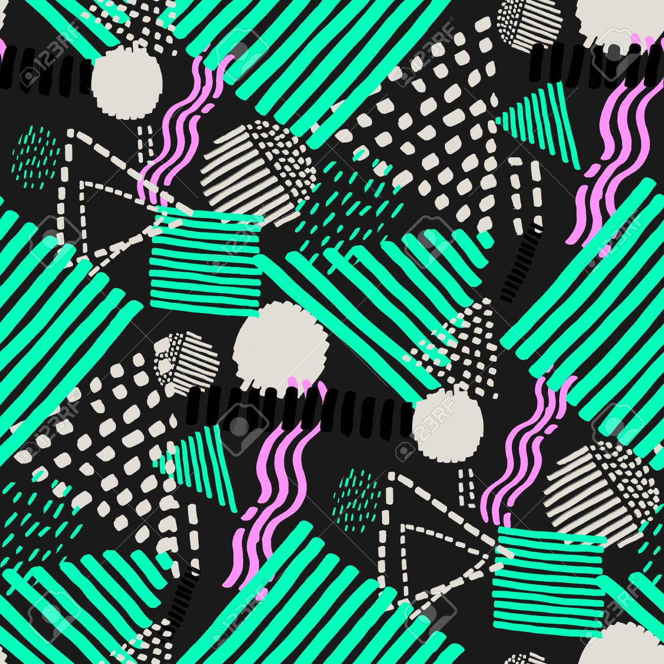 Memphis seamless pattern in retro style. Doodle pattern hand-drawn pen, ink, chalk. - 91785219
