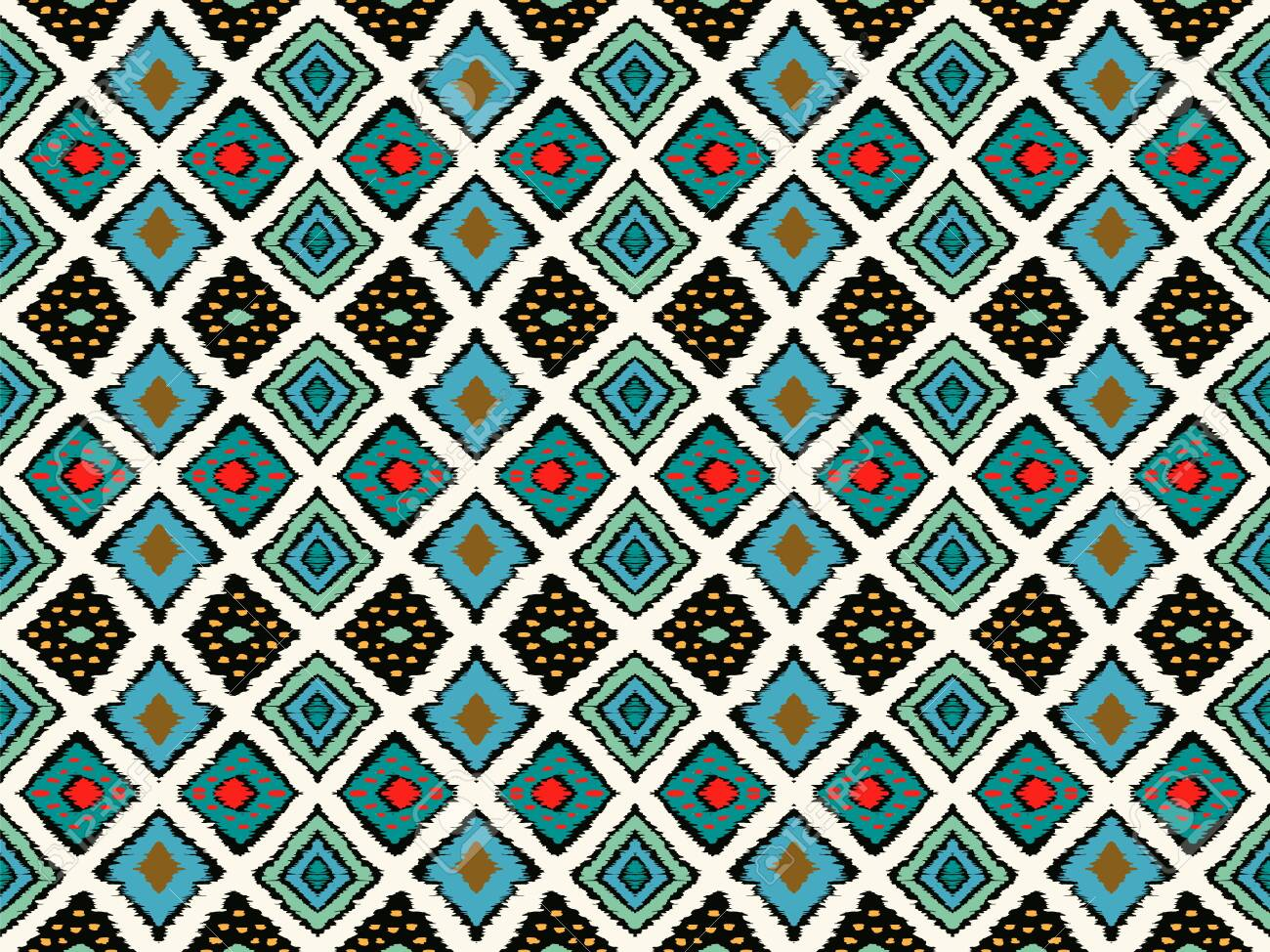 Ikat geometric folklore ornament with diamonds. Tribal ethnic vector texture. Seamless striped pattern in Aztec style. Folk embroidery. Indian, Scandinavian, Gypsy, Mexican, African rug. - 128373961