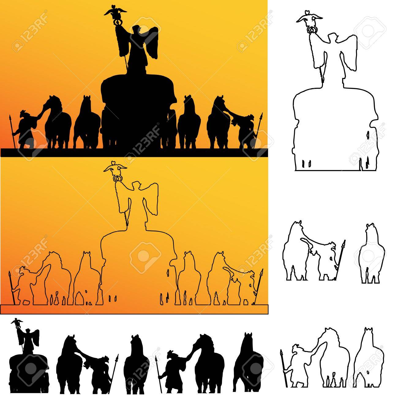 Roman soldiers Silhouette Stock Vector - 14500804