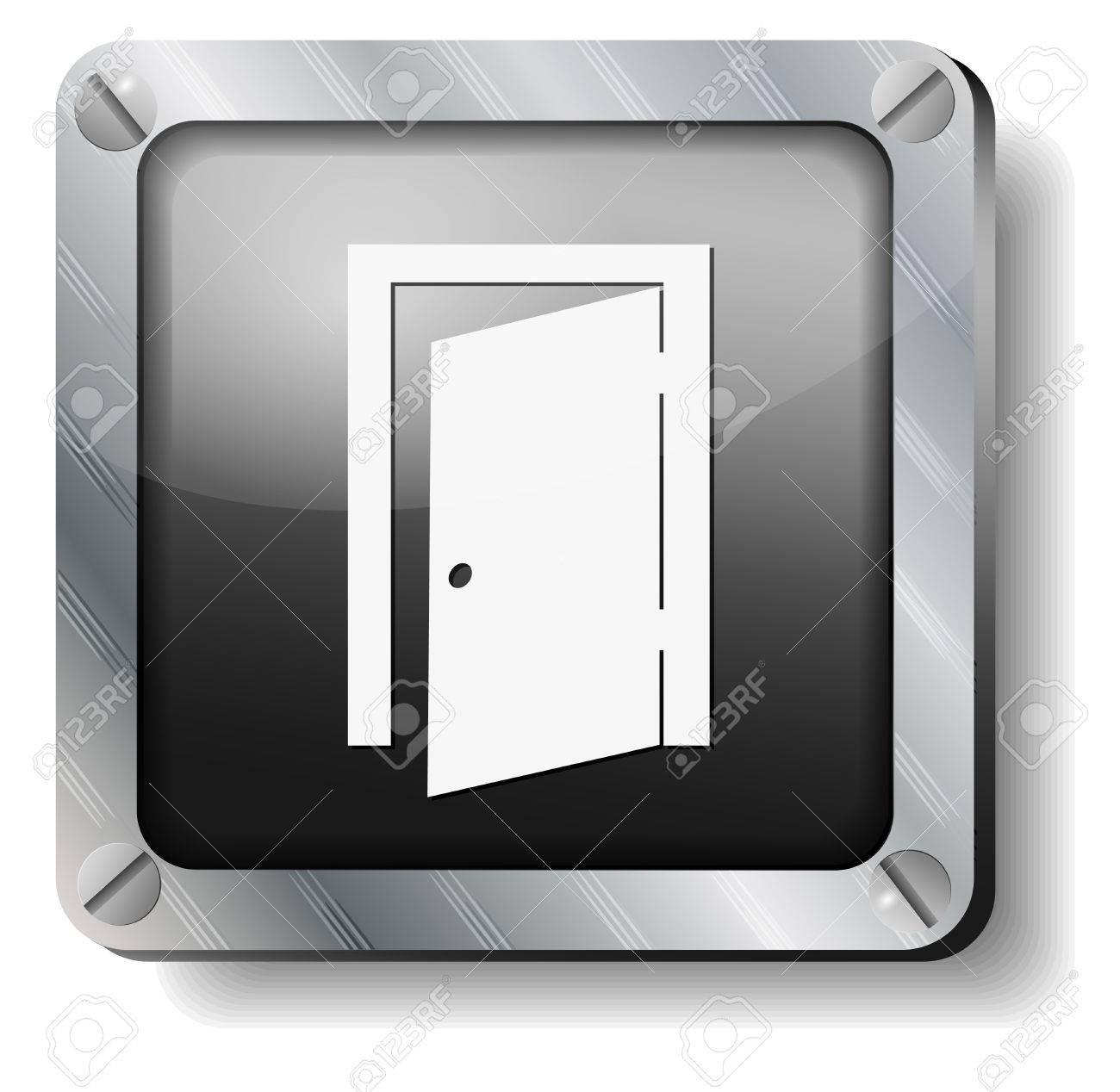 steel exit door icon Stock Vector - 14988274