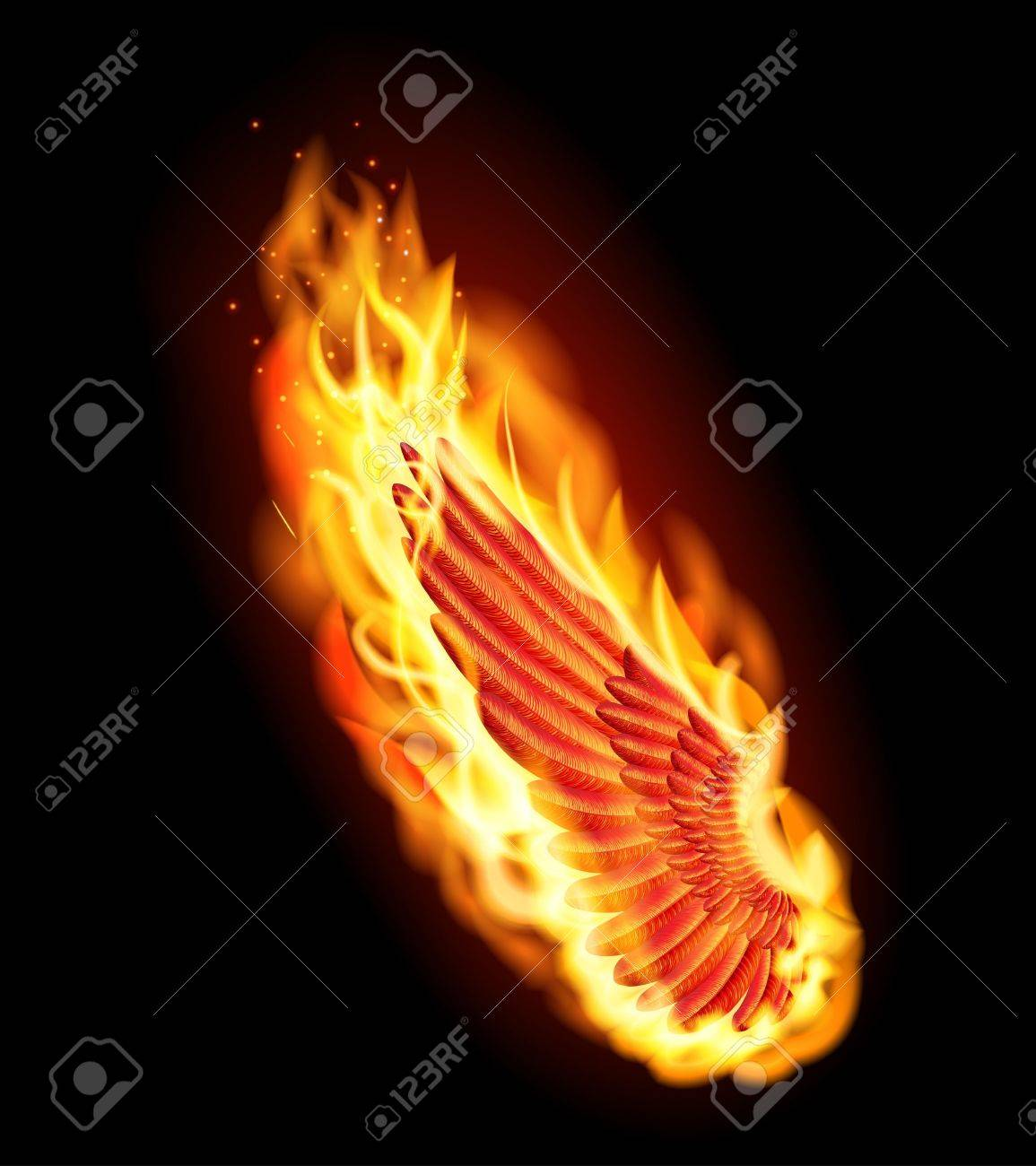 Left red wing on fire Stock Vector - 16642492