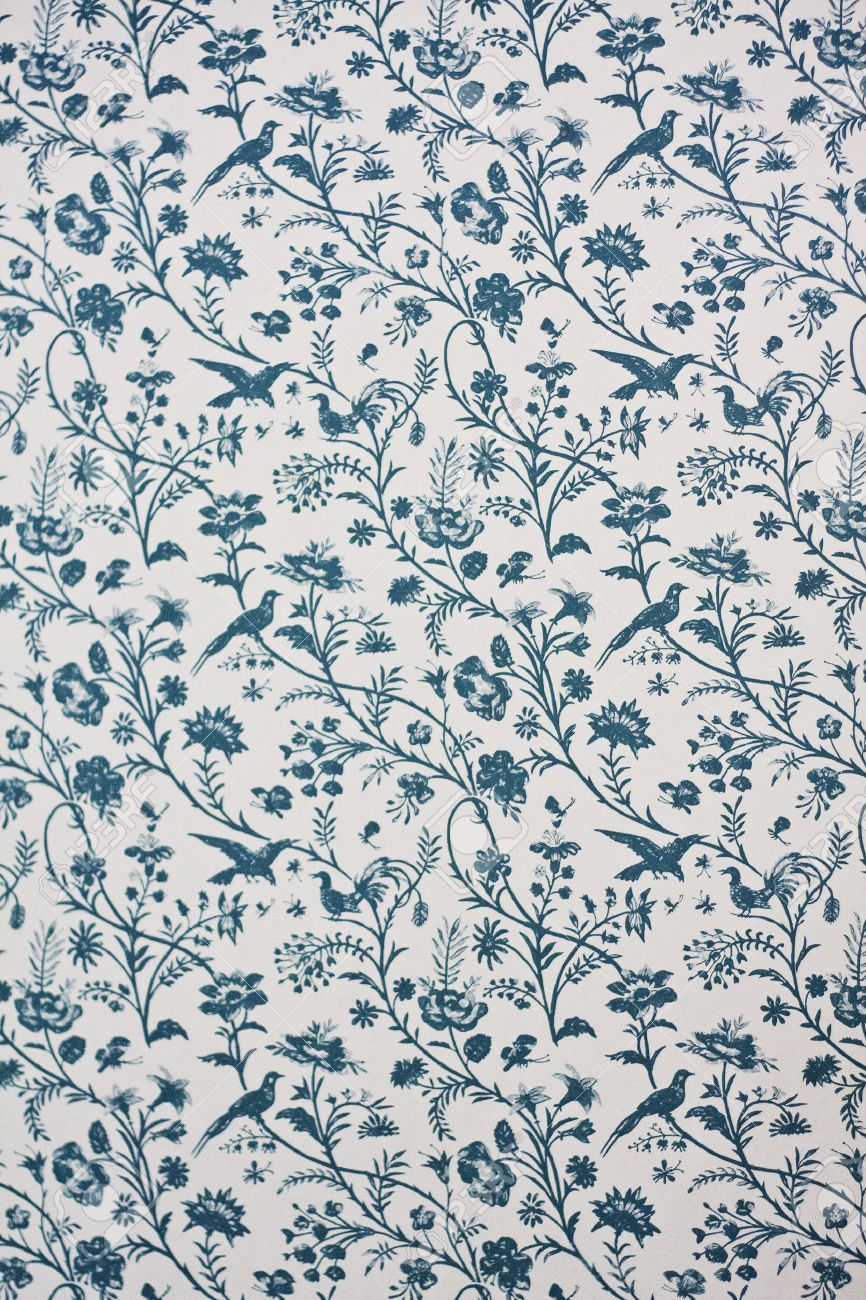 Victorian Wallpaper Depicting Floral Motives And Birds Stock