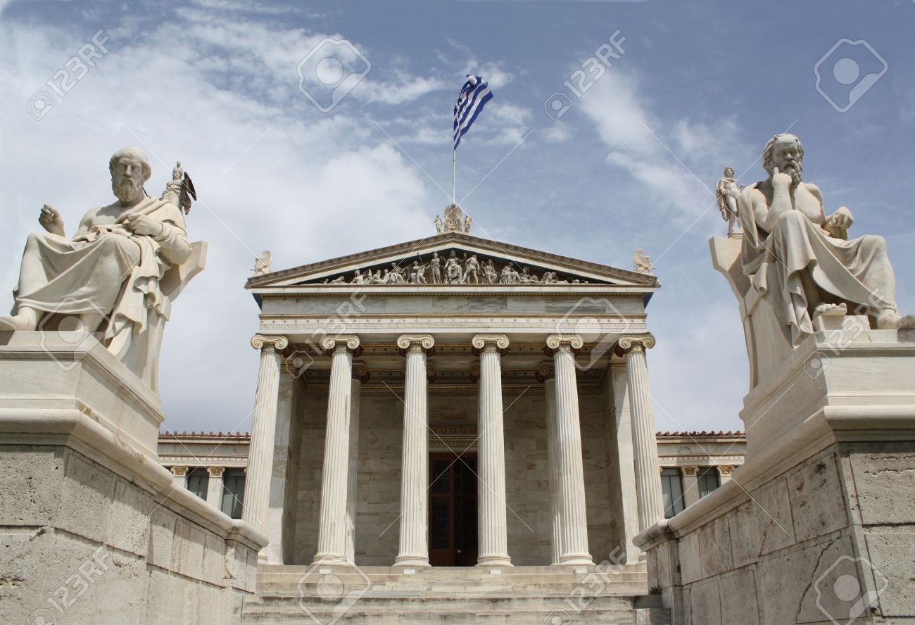 Neoclassical Academy of Athens in Greece showing main building and statues of ancient Greek philosopers Plato (left) and Socrates (right). The statues of goddess Pallas Athena and god Apollo are behind. The Academy of Athens is the highest research establ Stock Photo - 8340755