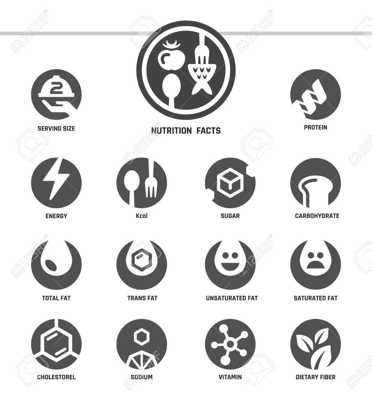 nutrition facts,inverse flat style,icon set - 101854706