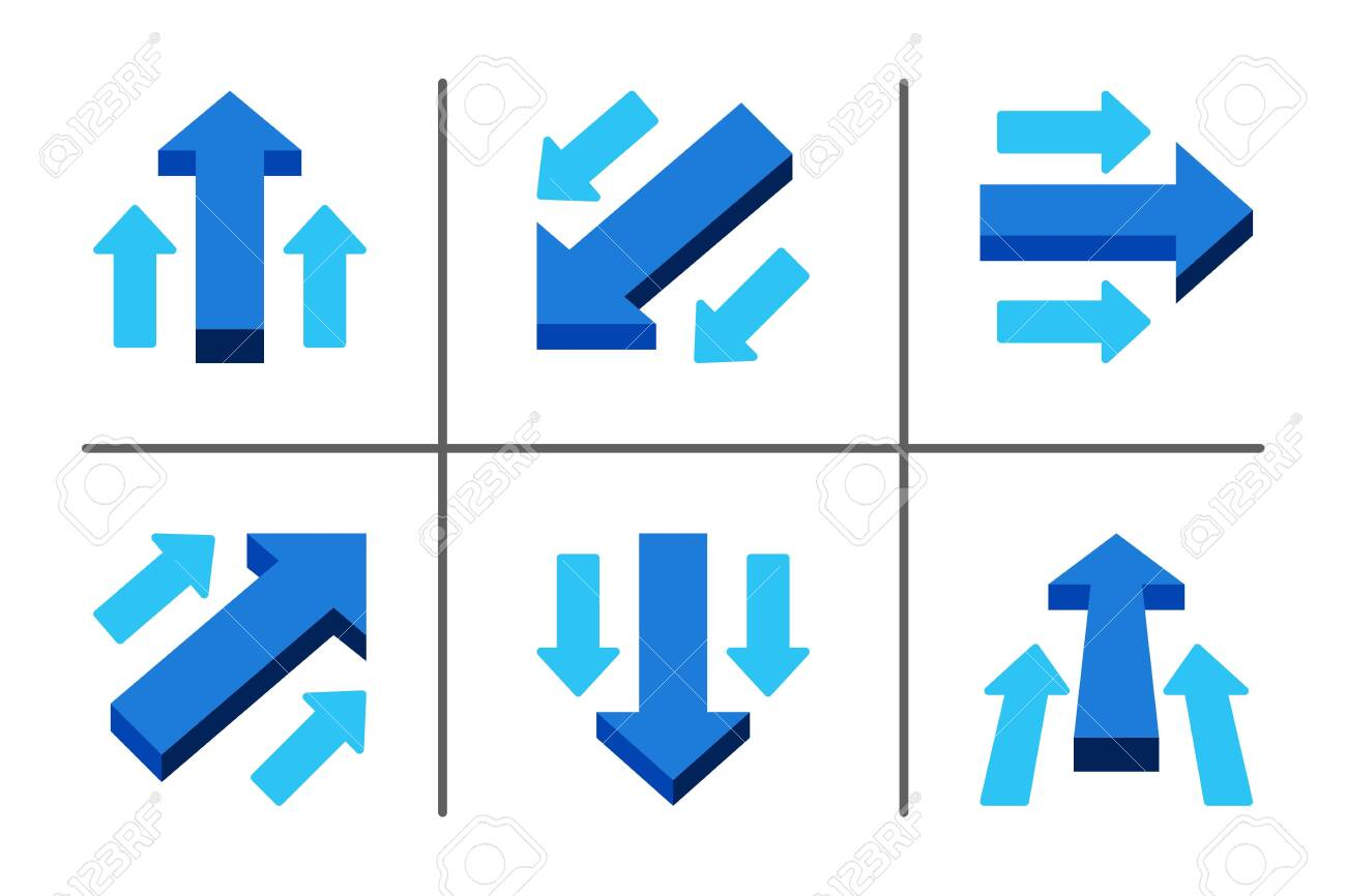 blue main arrow directing in same way with sub arrow,business concept,illustration and vector set - 130771980