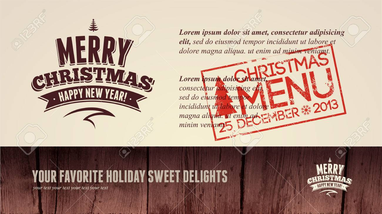 Christmas Restaurant Menu Business Card Invitation Royalty Free ...