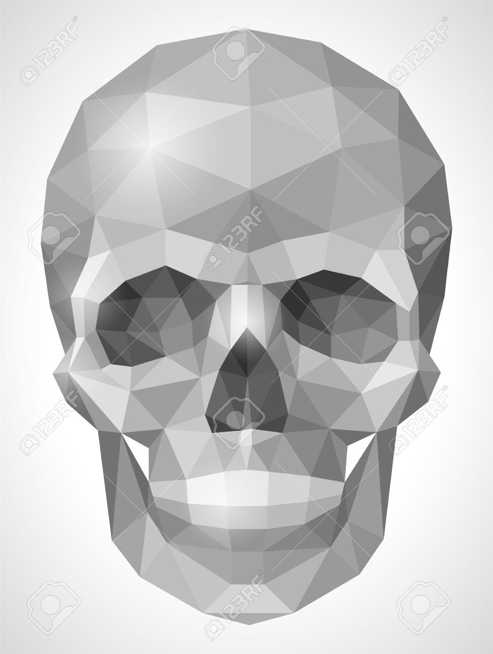 Human Skull In Origami Style Stock Vector
