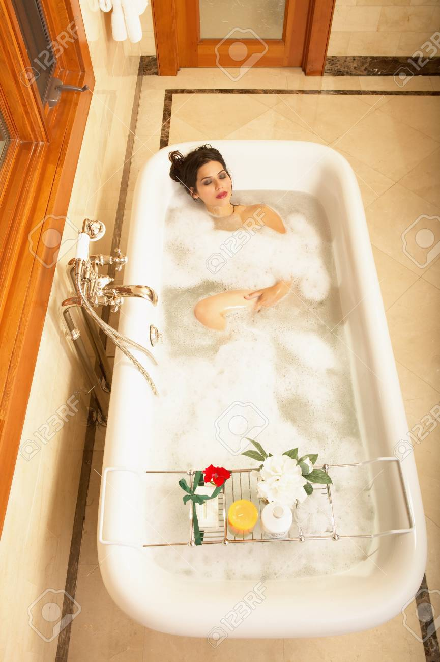 High angle view of a young woman in a bathtub Stock Photo - 16045125