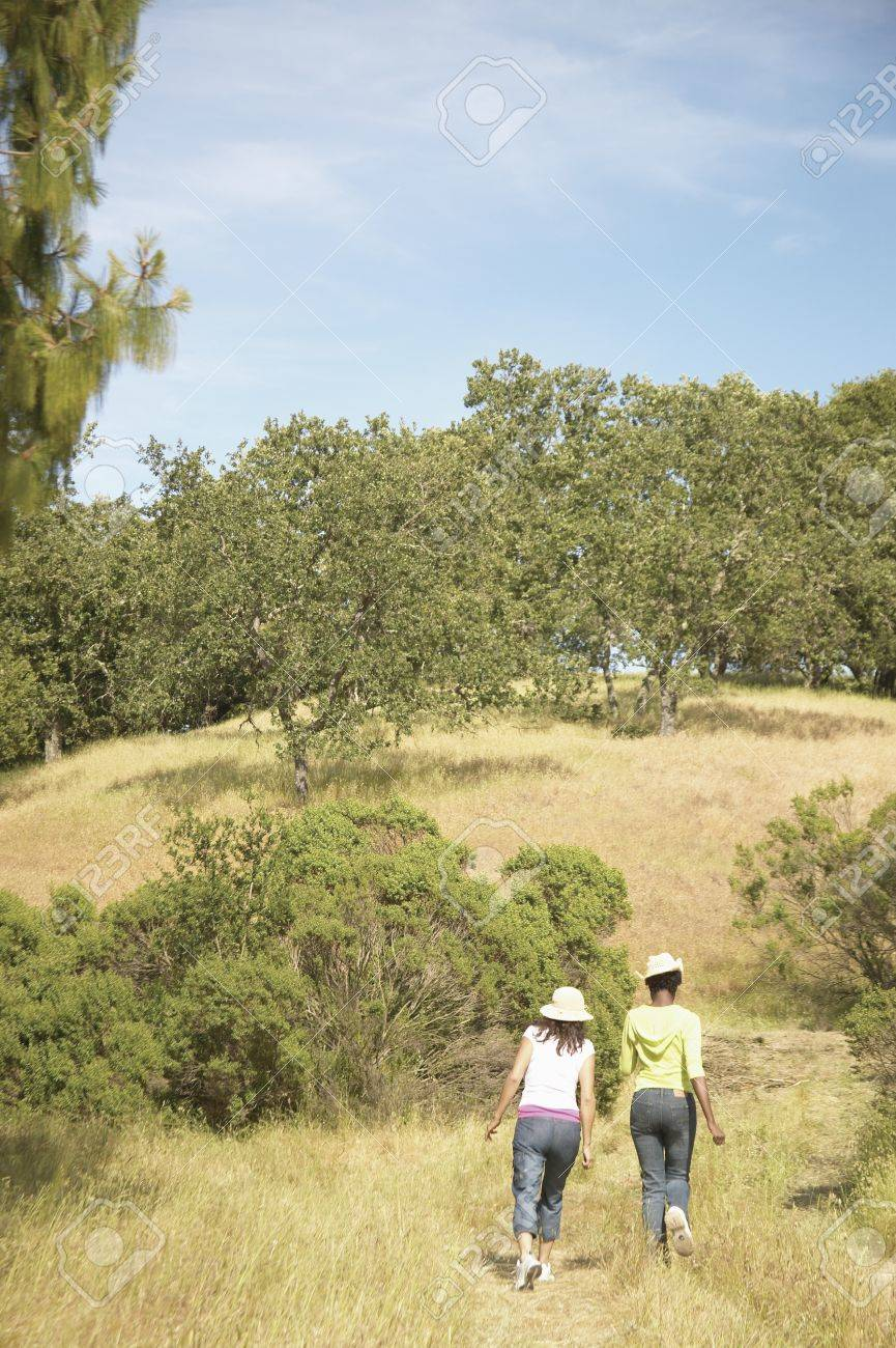 Rear view of two young women hiking in the forest Stock Photo - 16045257