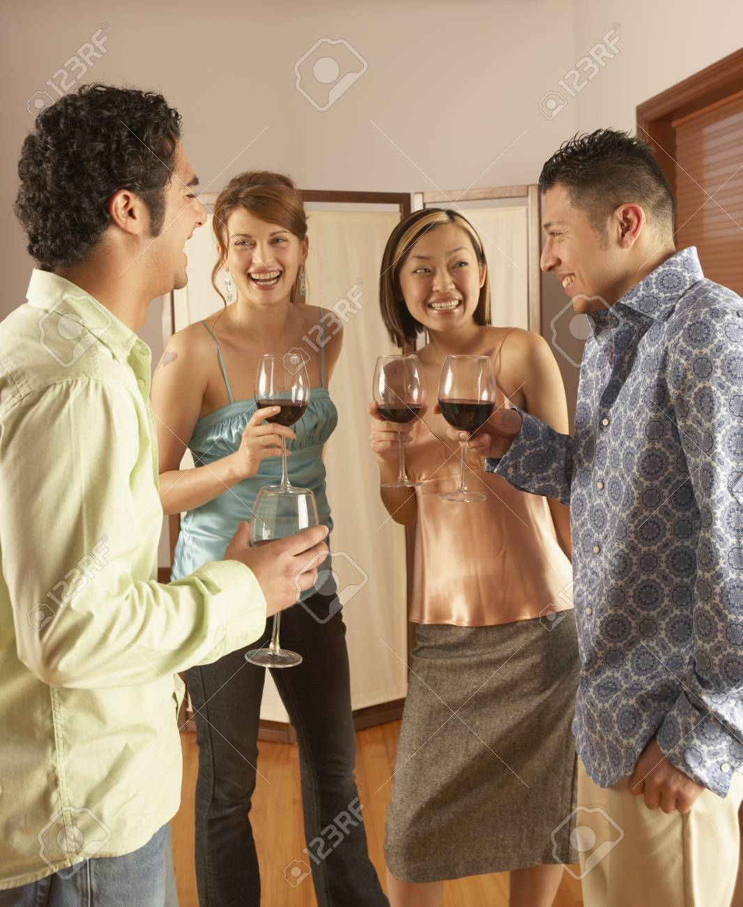 Group of young people toasting with wine Stock Photo - 16046297