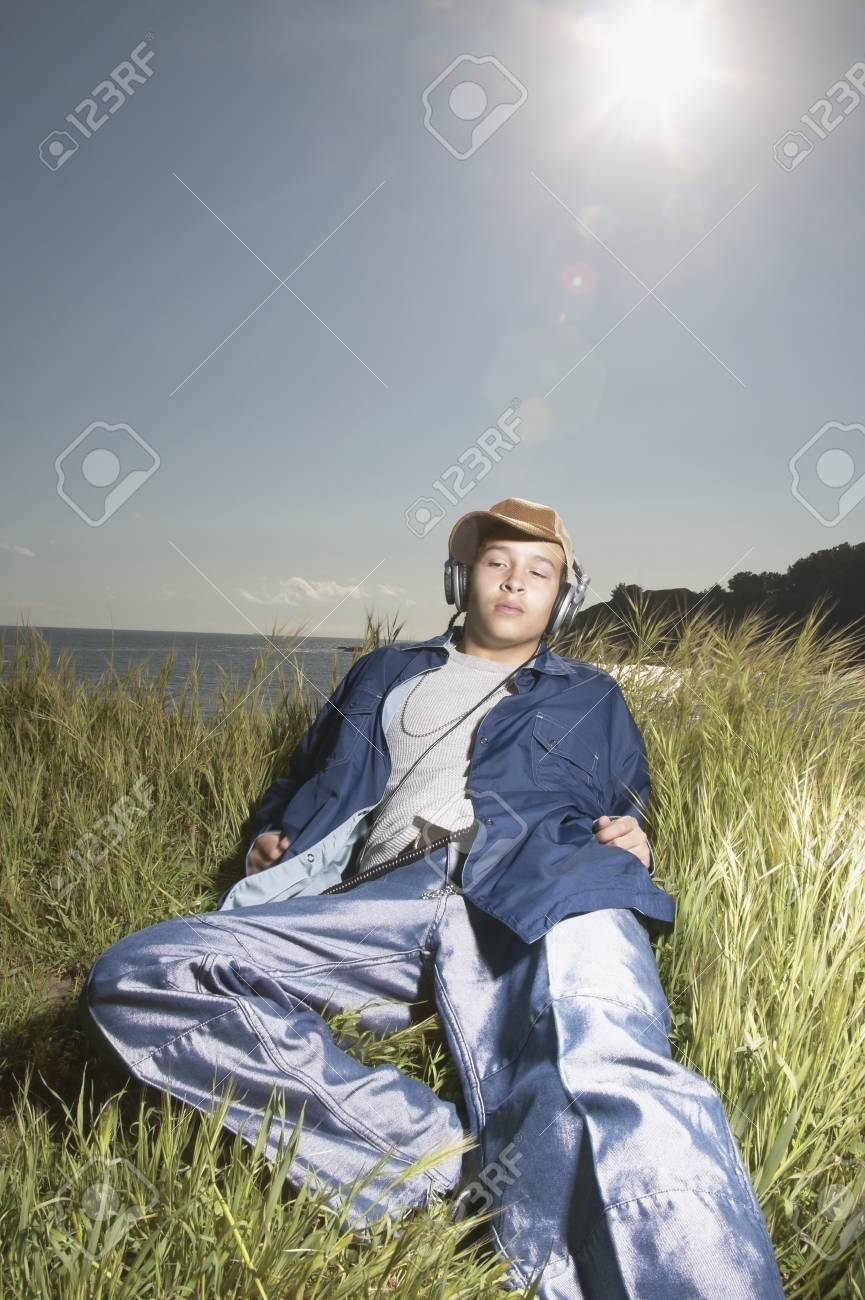 Young man wearing headphones Stock Photo - 16046545