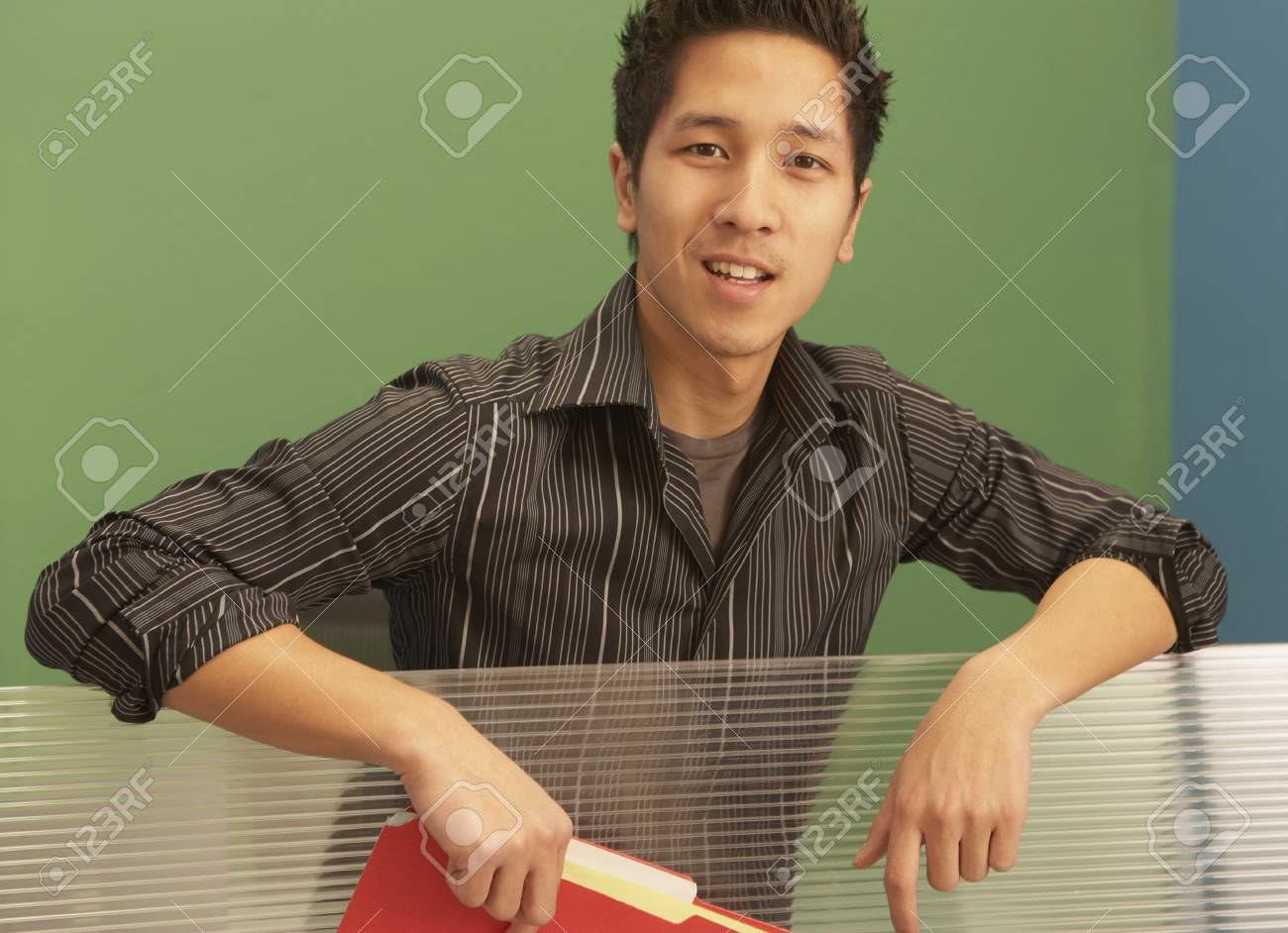 Portrait of a businessman holding a file in an office Stock Photo - 16047341