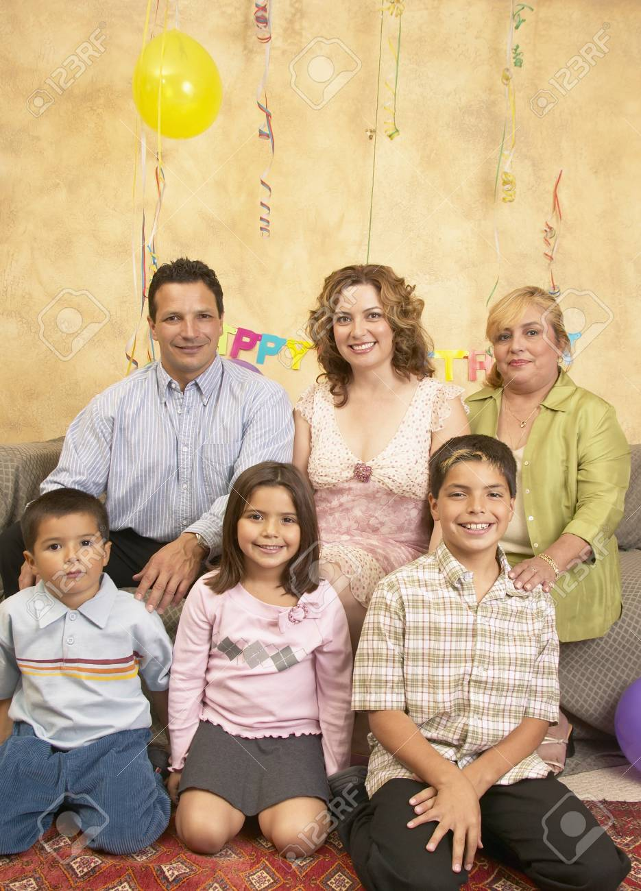Portrait of a family at a birthday party Stock Photo - 16071625