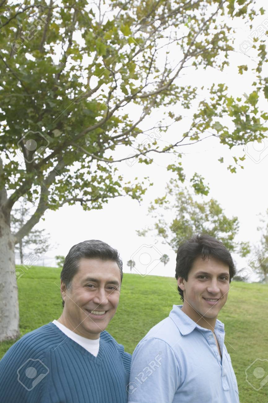 Portrait of father and son in a park Stock Photo - 16071738