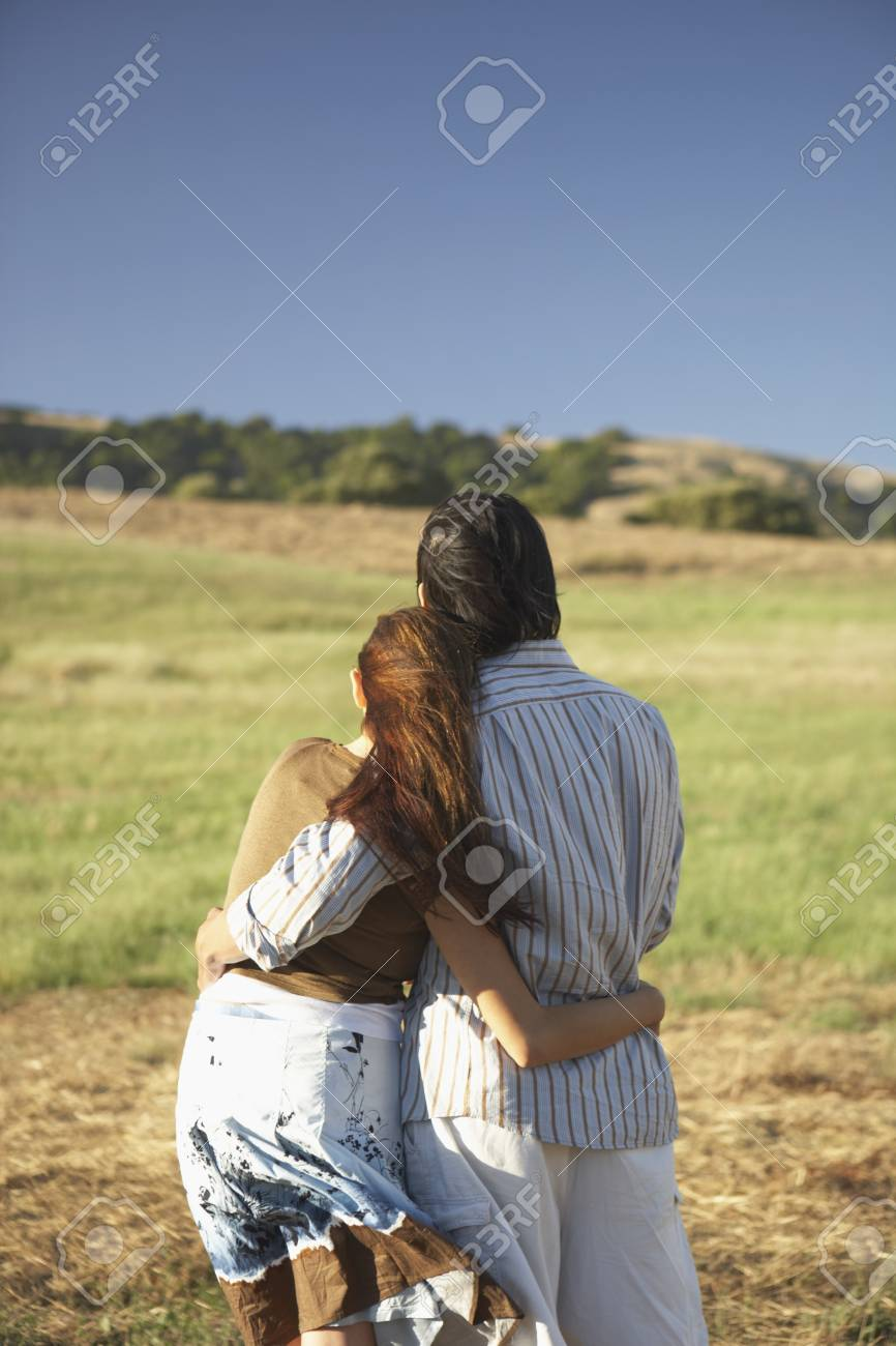 Couple hugging outdoors Stock Photo - 16073394
