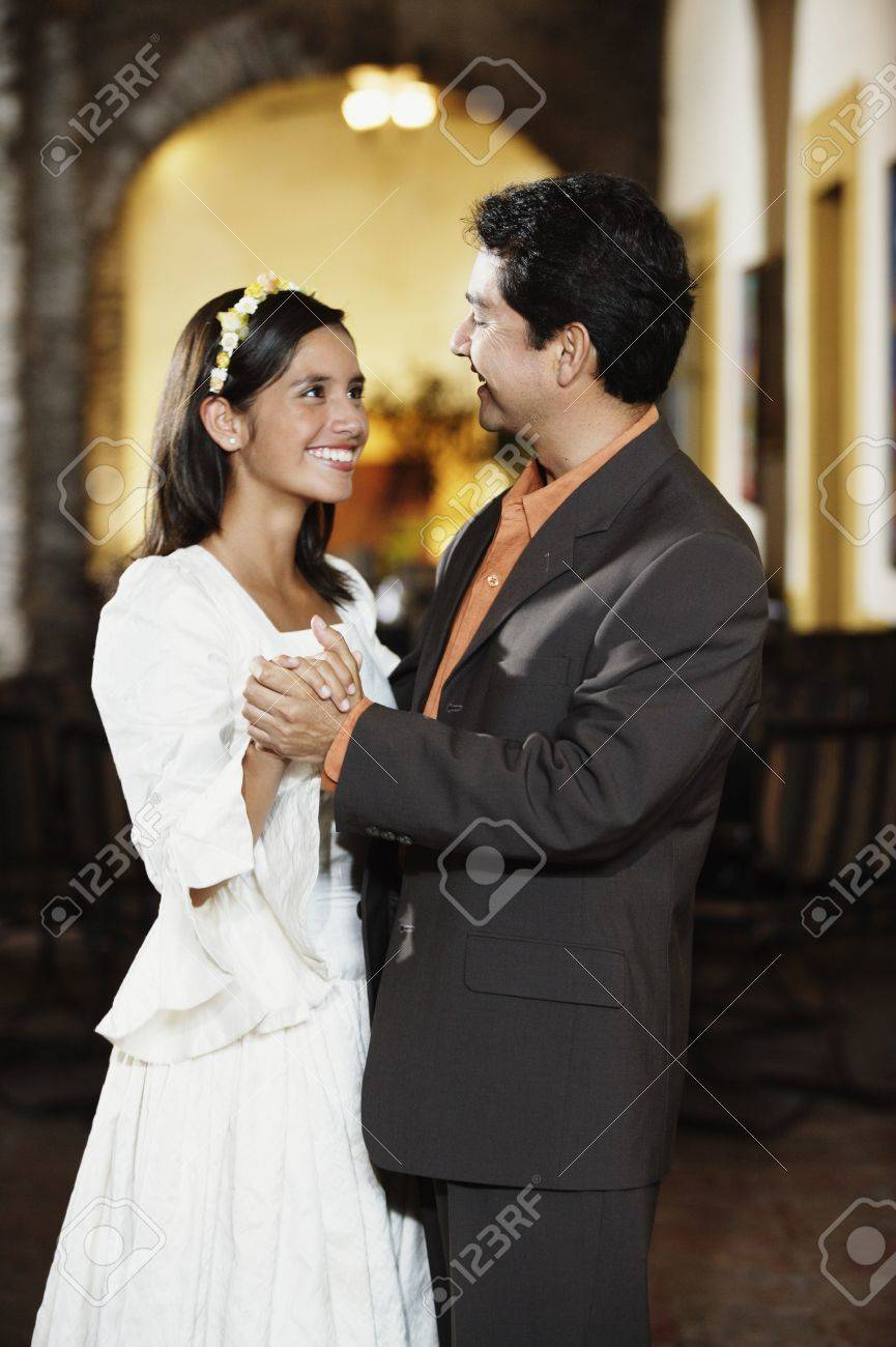 Teenage girl dancing with her father Stock Photo - 16089846