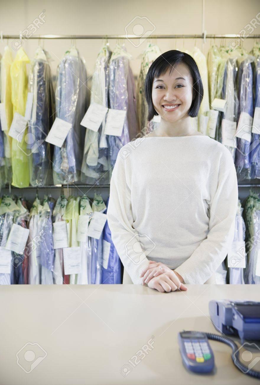 Happy Asian drycleaner, Edmonds, Washington, United States Stock Photo - 16090273