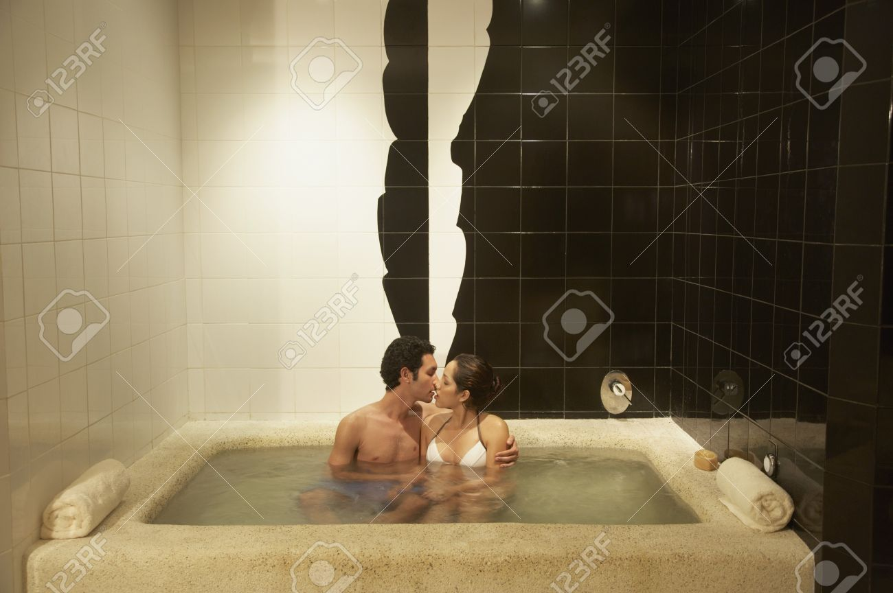 Couple kissing in spa hot tub, Los Cabos, Mexico Stock Photo - 16090980