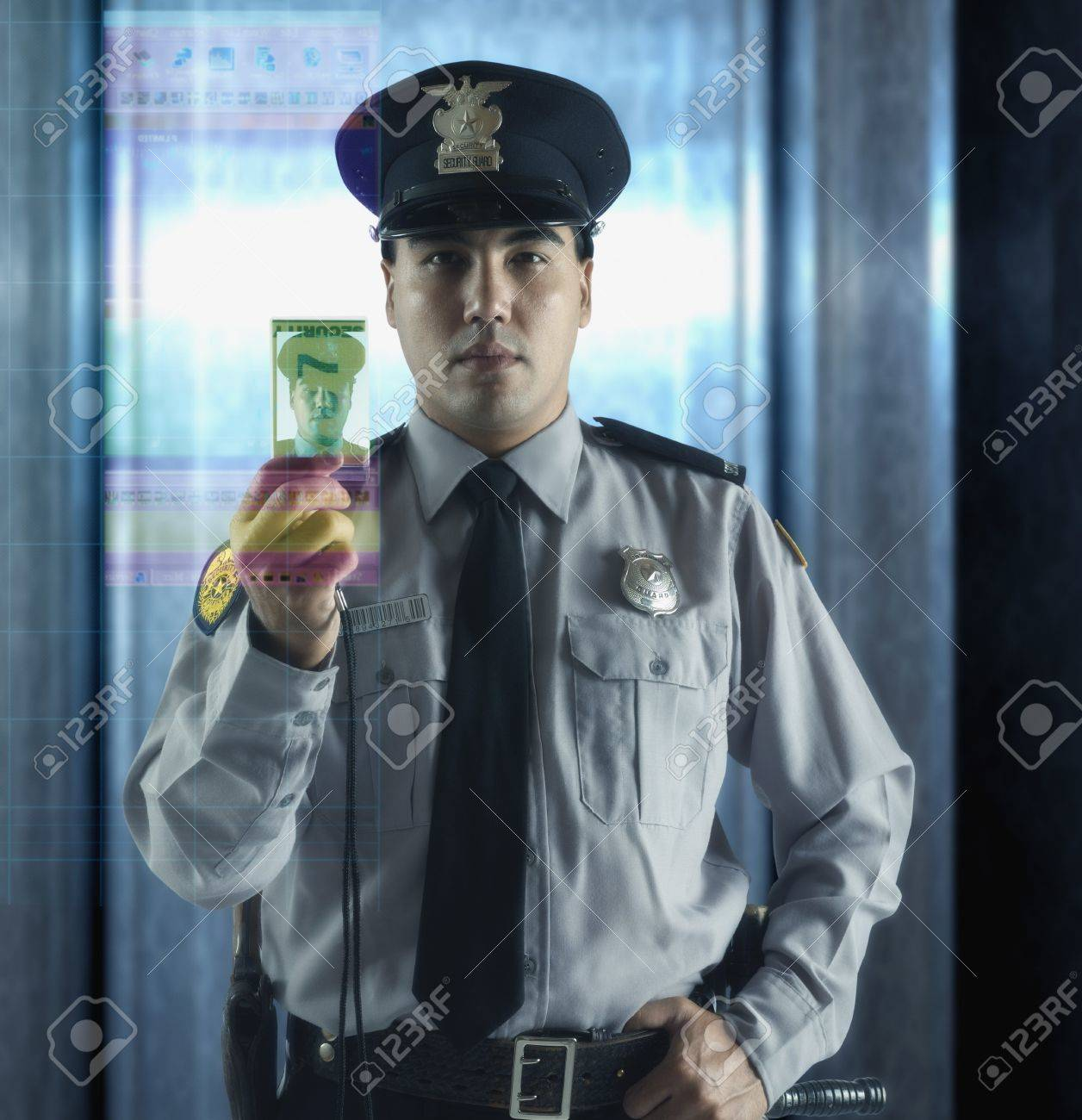 Male security guard with ID card Stock Photo - 16091506