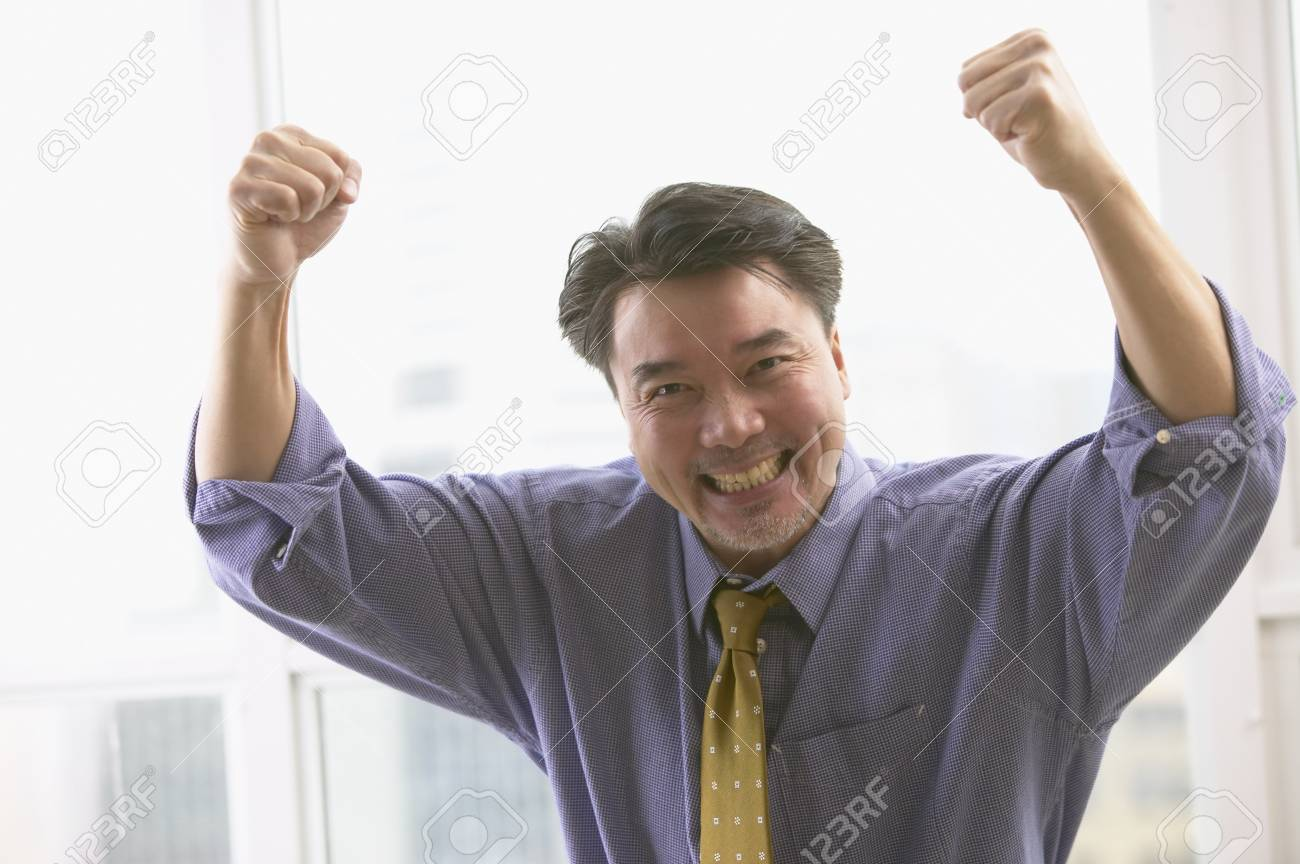 Asian businessman cheering Stock Photo - 16092303