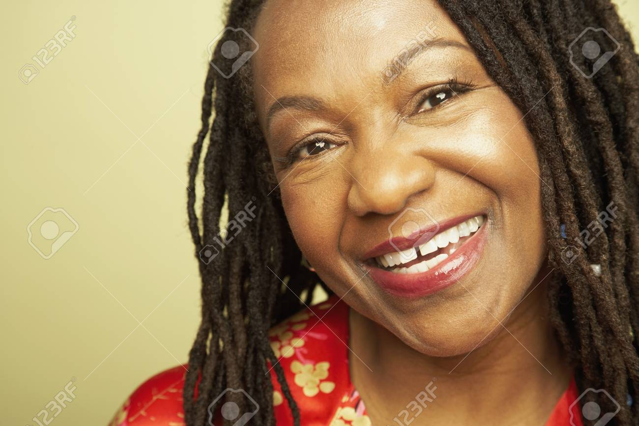 Close up of middle-aged African woman smiling Stock Photo - 16092547
