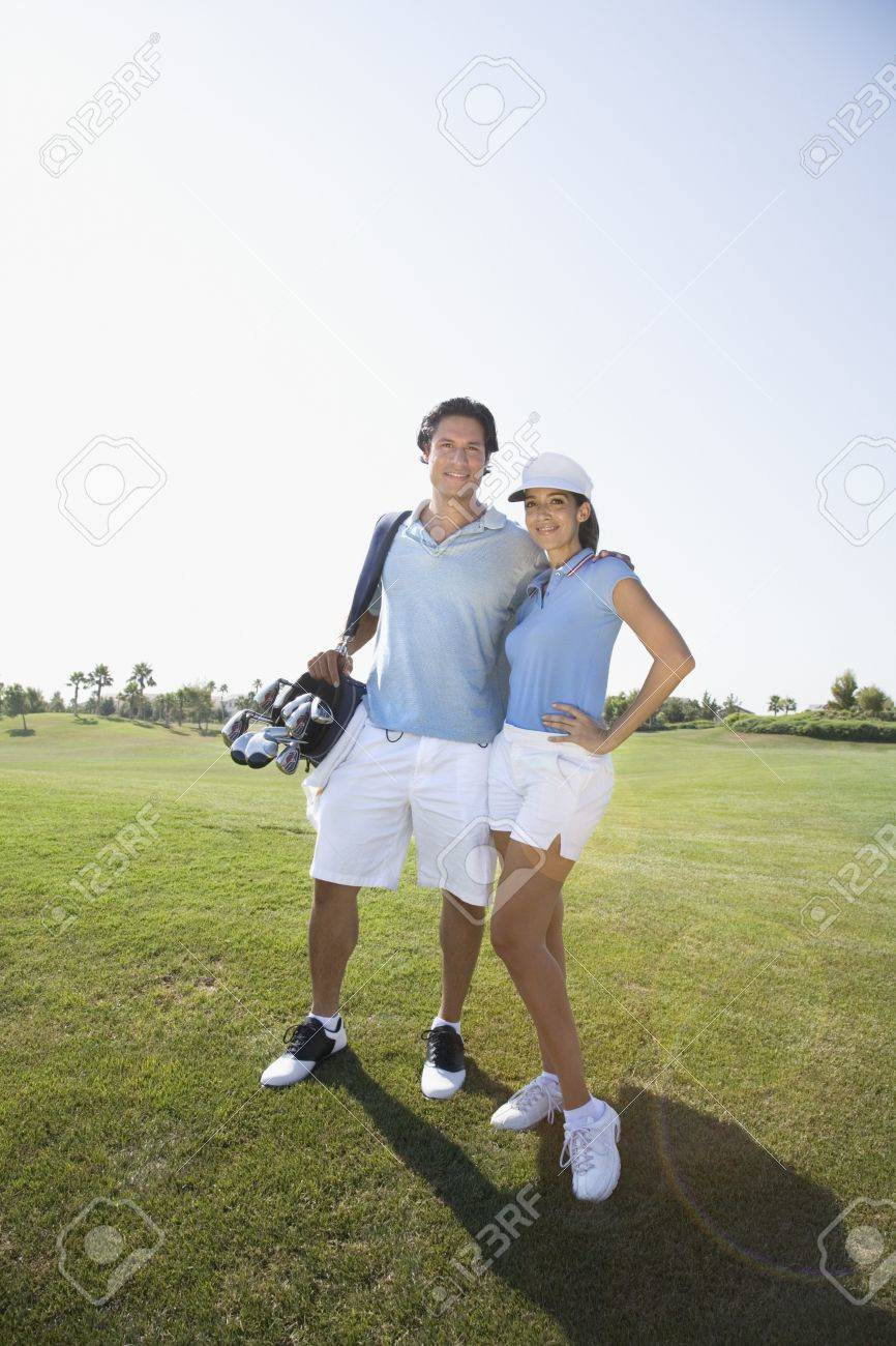 Portrait of couple on golf course Stock Photo - 16092839