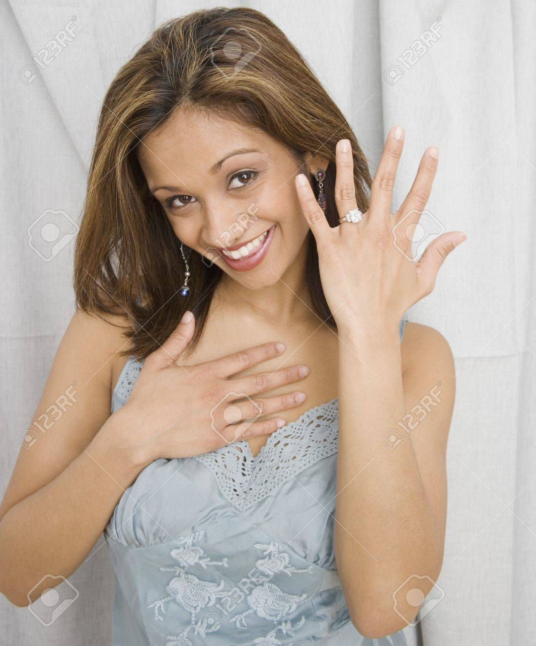 Indian Woman Showing Off Engagement Ring Stock Photo Picture And