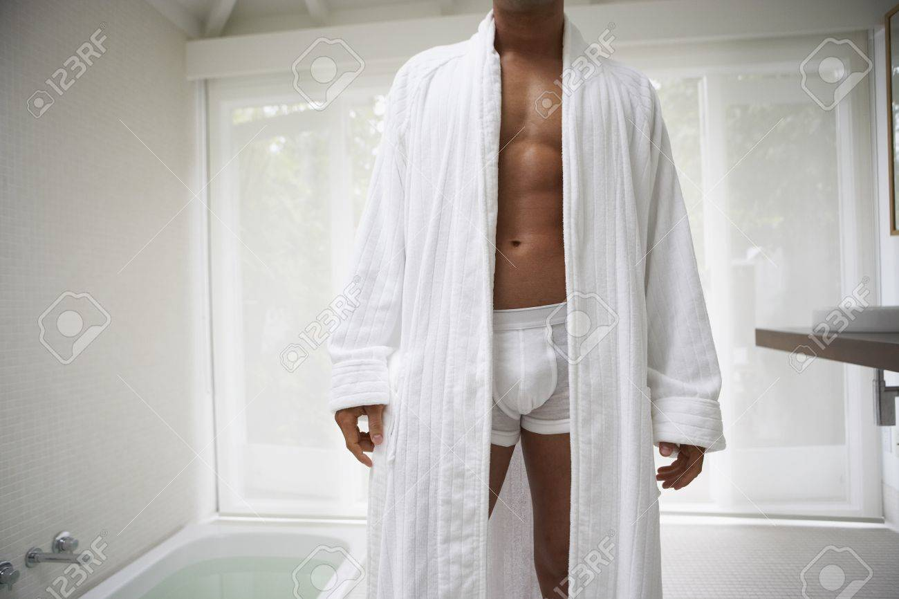 Man Wearing Underwear And Bathrobe In Bathroom Stock Photo Picture And Royalty Free Image Image 35676879