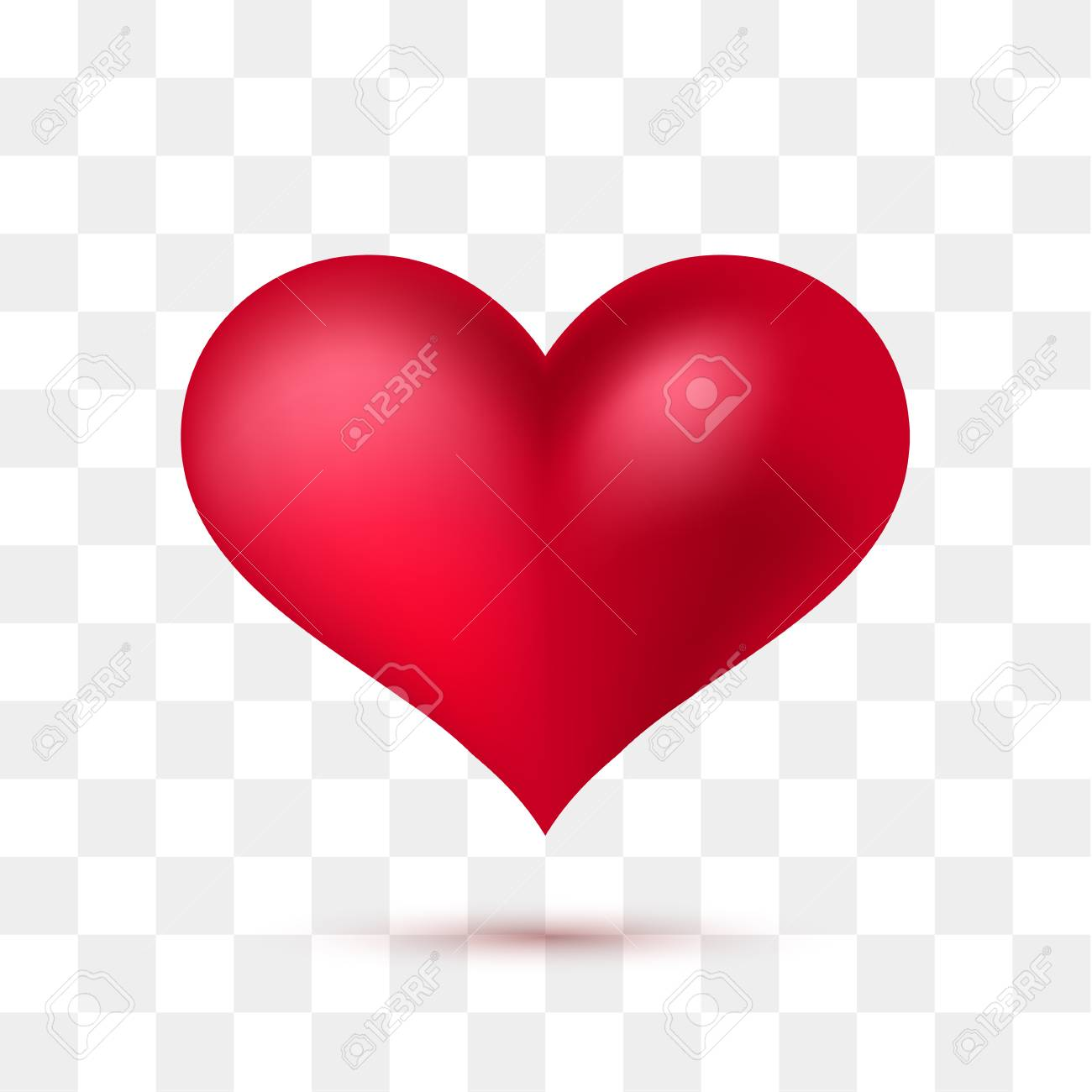 Soft red heart with transparent background. Vector illustration - 93241601