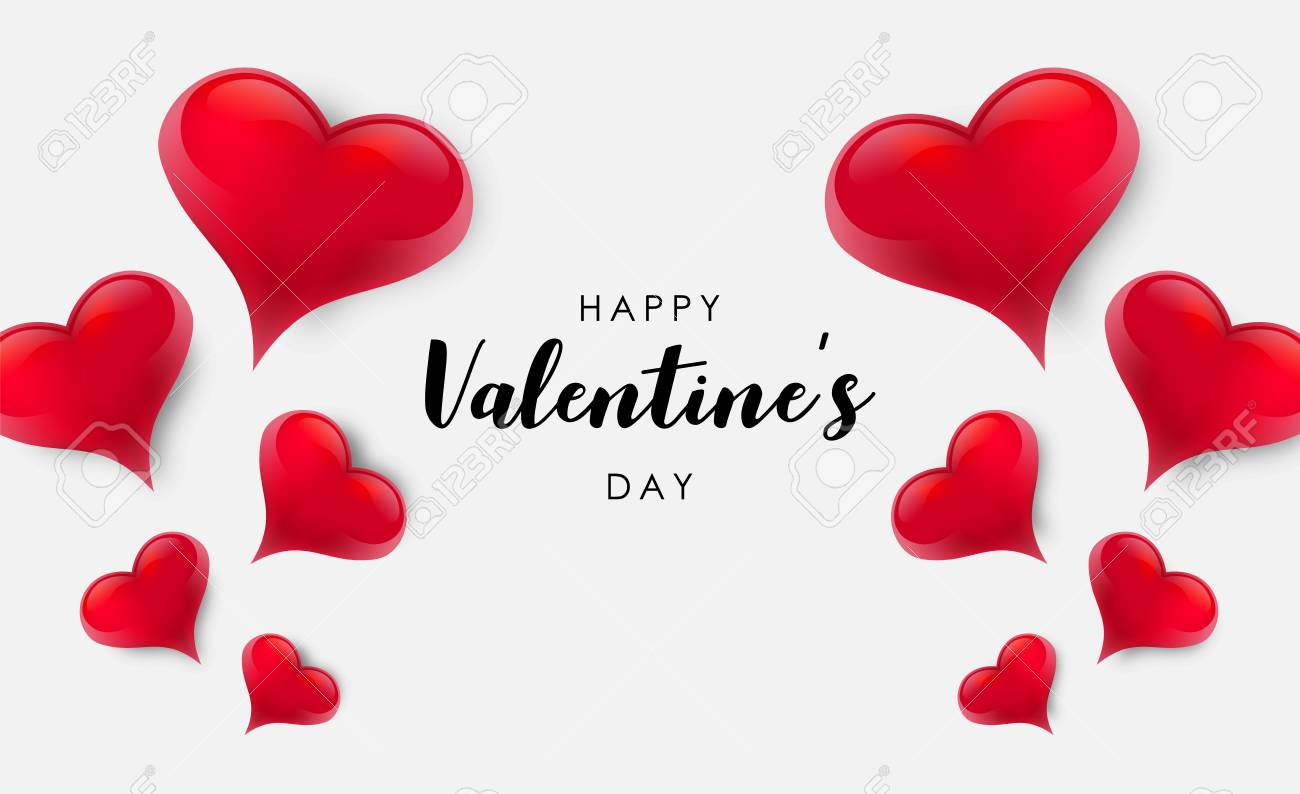 Blank background decorated with hearts. Vector illustration - 125400362