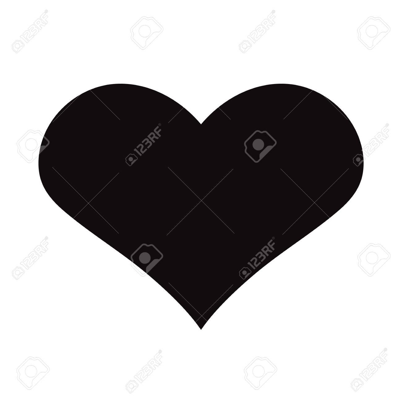 Flat Black Heart Icon Isolated on White Background. Vector illustration. - 121676834