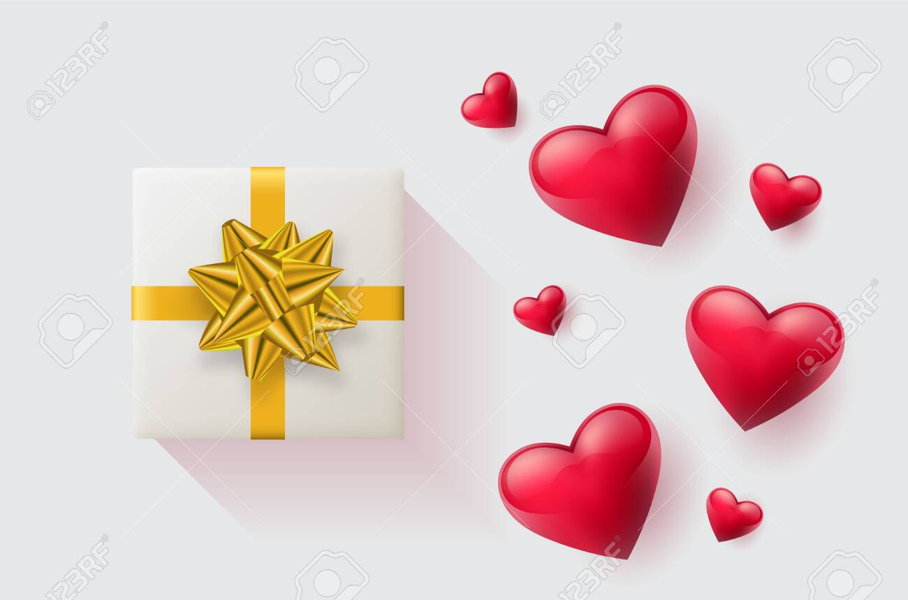 Festive wallpaper decorated with hearts and gifts. Vector illustration - Vector - 121677206