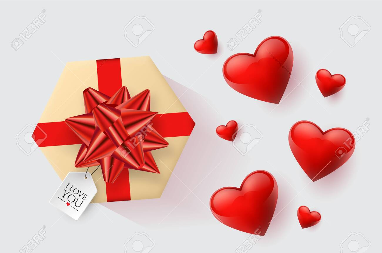 Festive wallpaper decorated with hearts and gifts. Vector illustration - Vector - 121677345