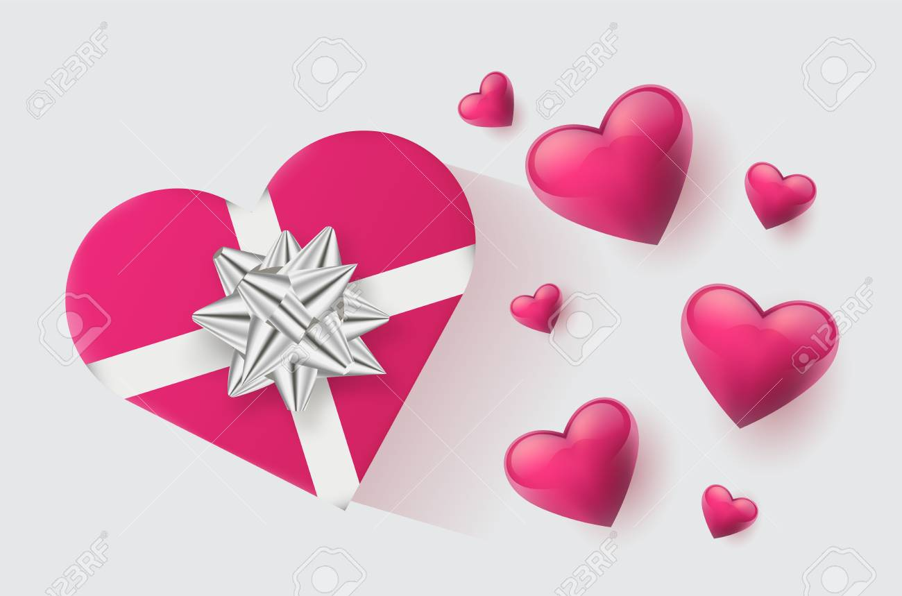 Festive wallpaper decorated with hearts and gifts. Vector illustration - Vector - 121677367