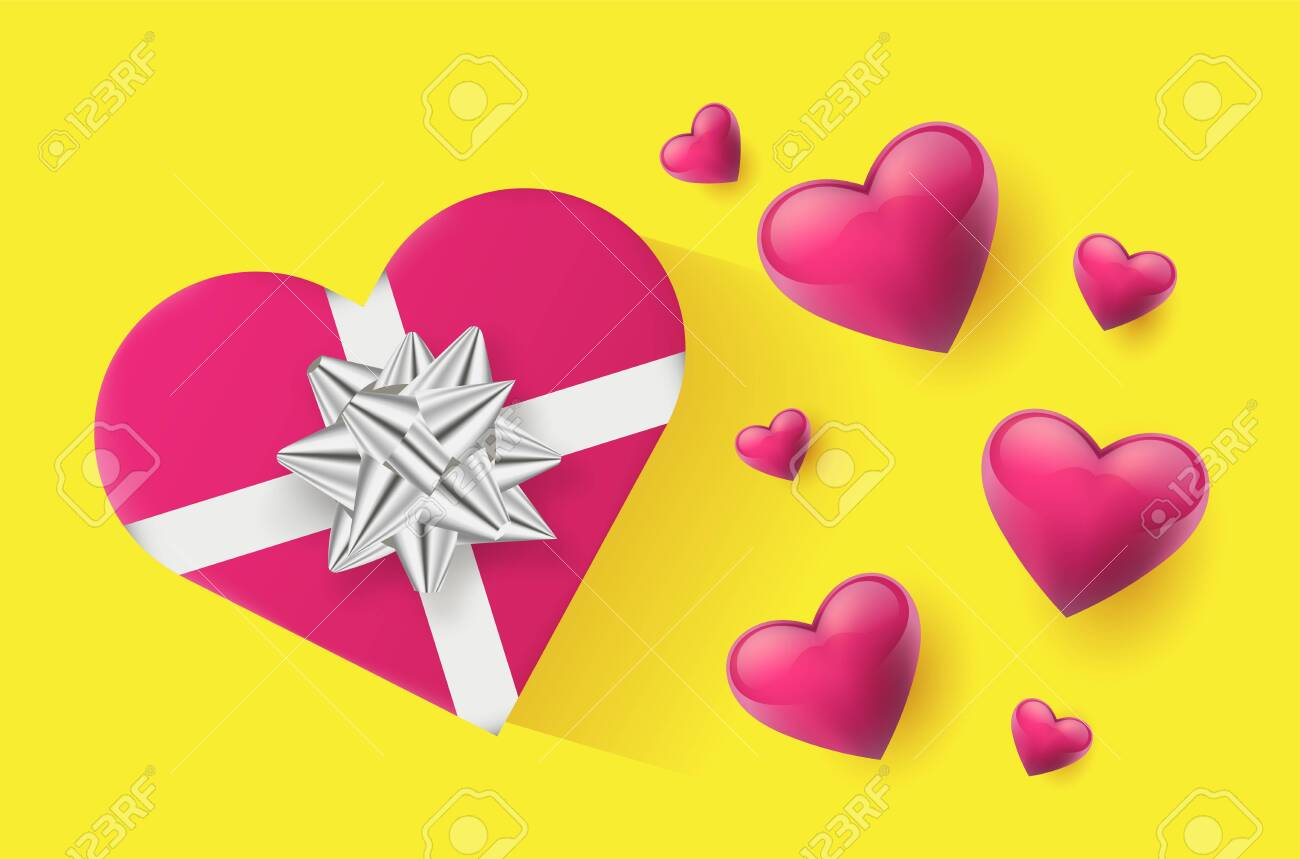 Festive wallpaper decorated with hearts and gifts. Vector illustration - Vector - 121677368