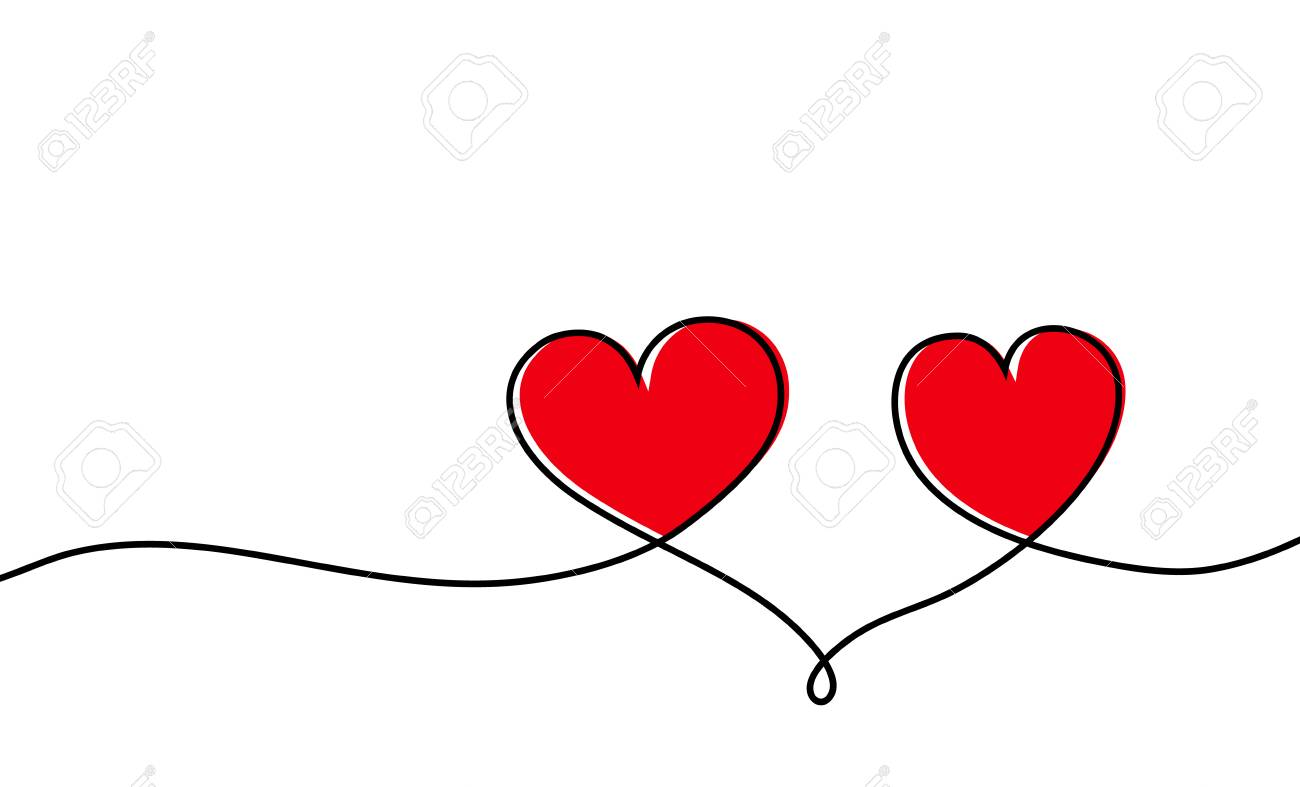 Continuous one line drawing of red heart isolated on white background. Vector illustration - 121677380