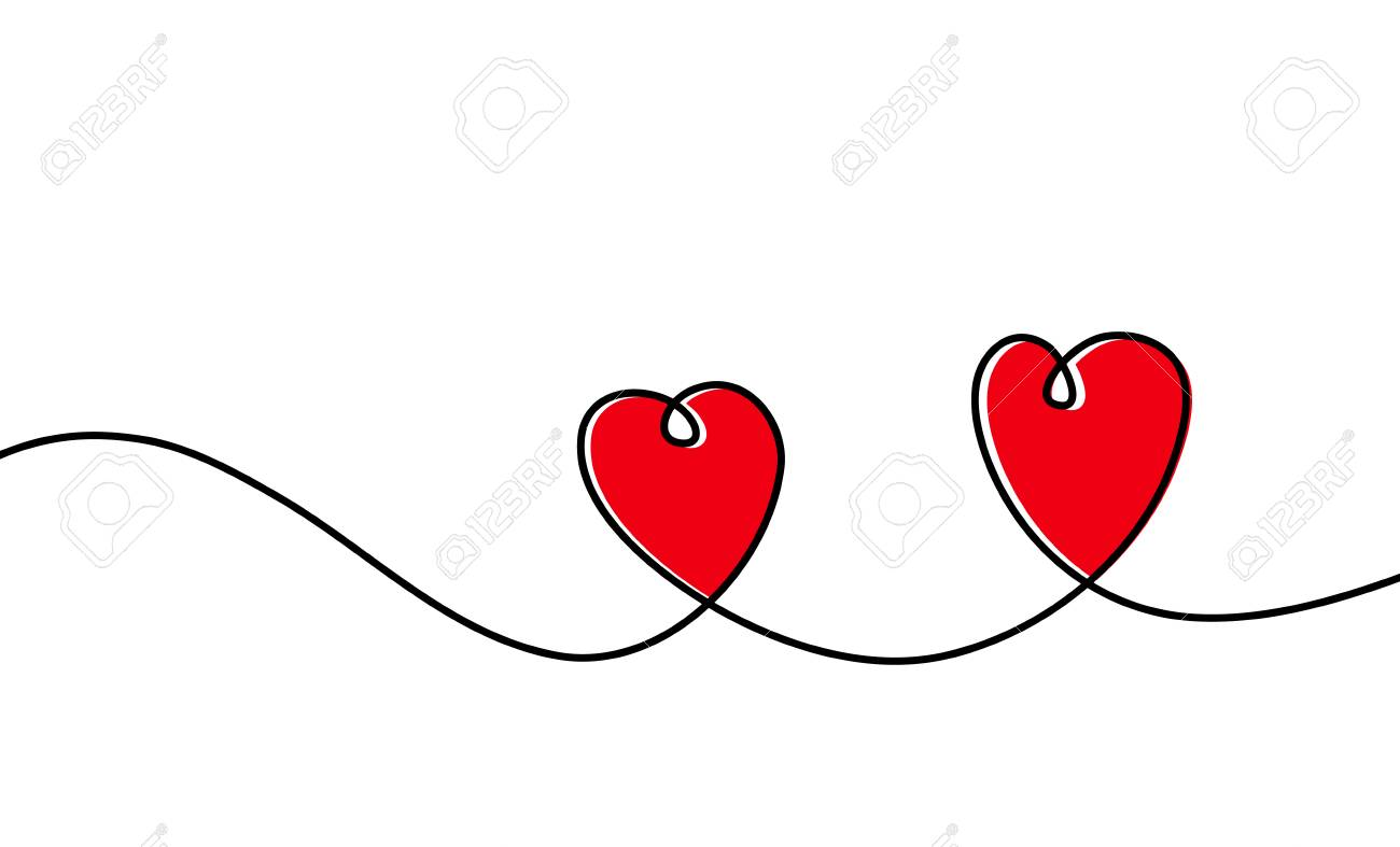 Continuous one line drawing of red heart isolated on white background. Vector illustration - 125328893