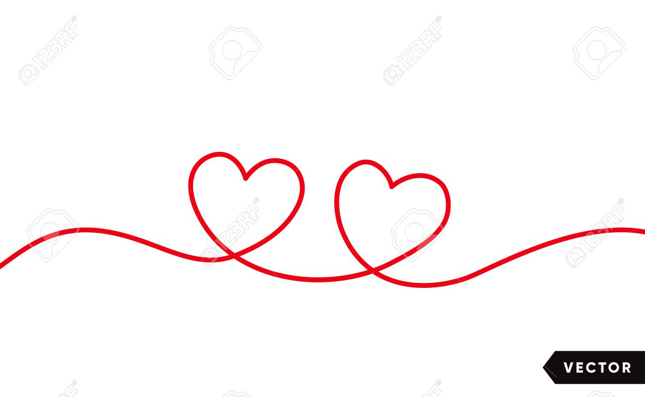 Continuous one line drawing of red heart isolated on white background. Vector illustration - 125328901