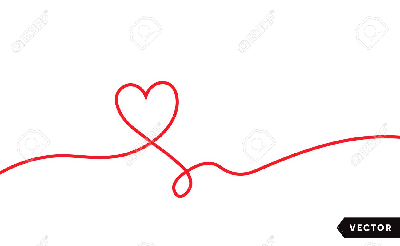 Continuous one line drawing of red heart isolated on white background. Vector illustration - 125328902
